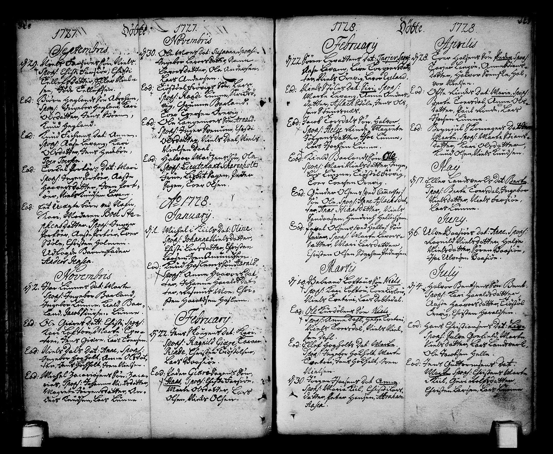 SAKO, Sannidal kirkebøker, F/Fa/L0001: Ministerialbok nr. 1, 1702-1766, s. 128-129