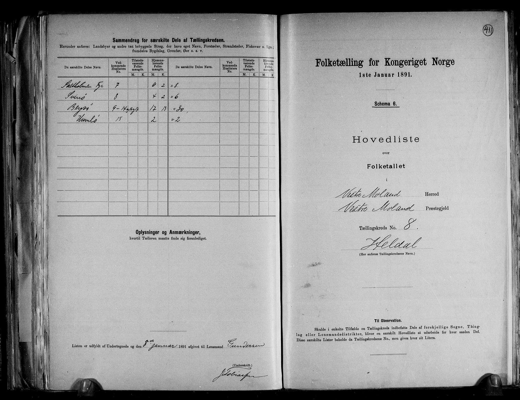 RA, Folketelling 1891 for 0926 Vestre Moland herred, 1891, s. 20