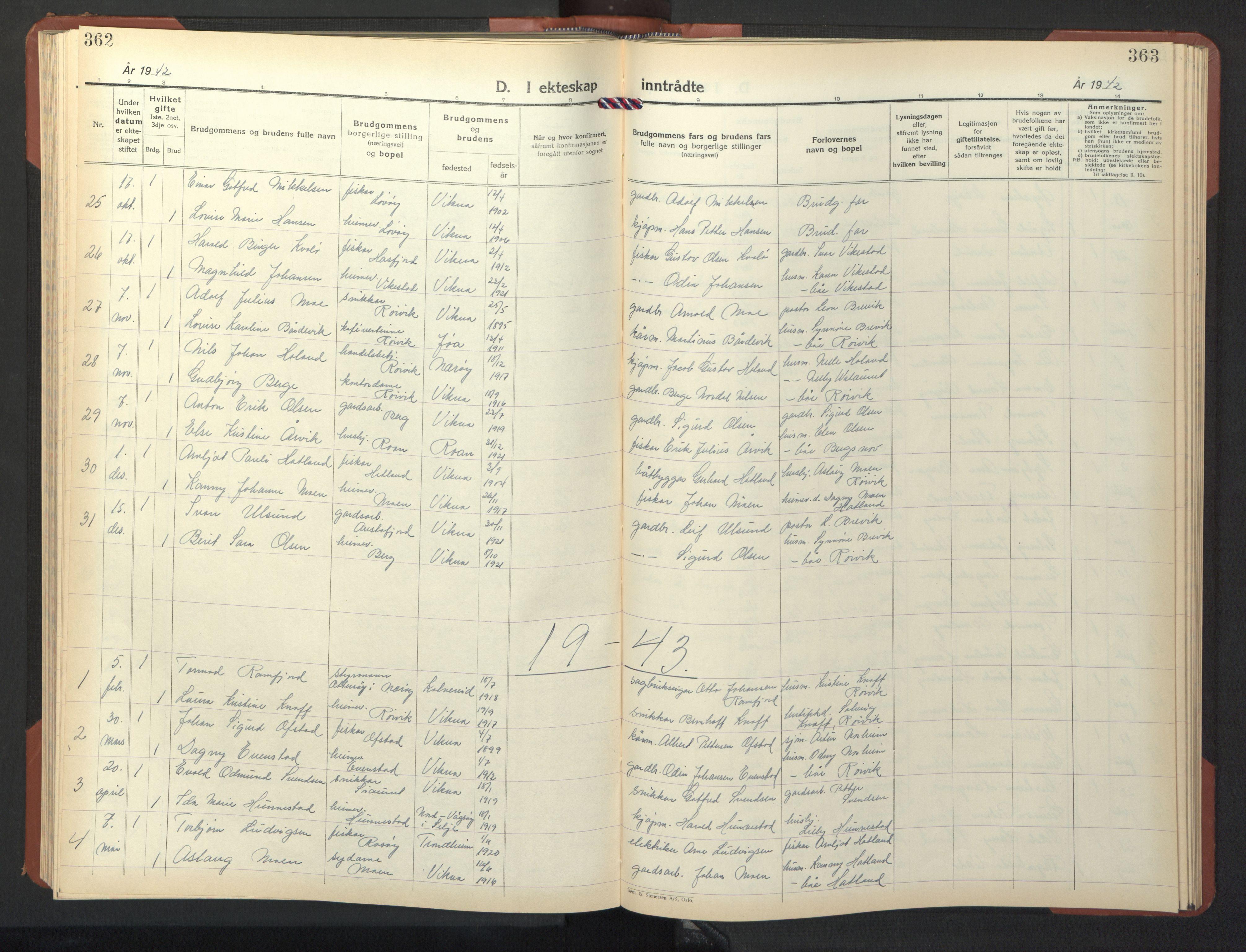 SAT, Ministerialprotokoller, klokkerbøker og fødselsregistre - Nord-Trøndelag, 786/L0689: Klokkerbok nr. 786C01, 1940-1948, s. 362-363