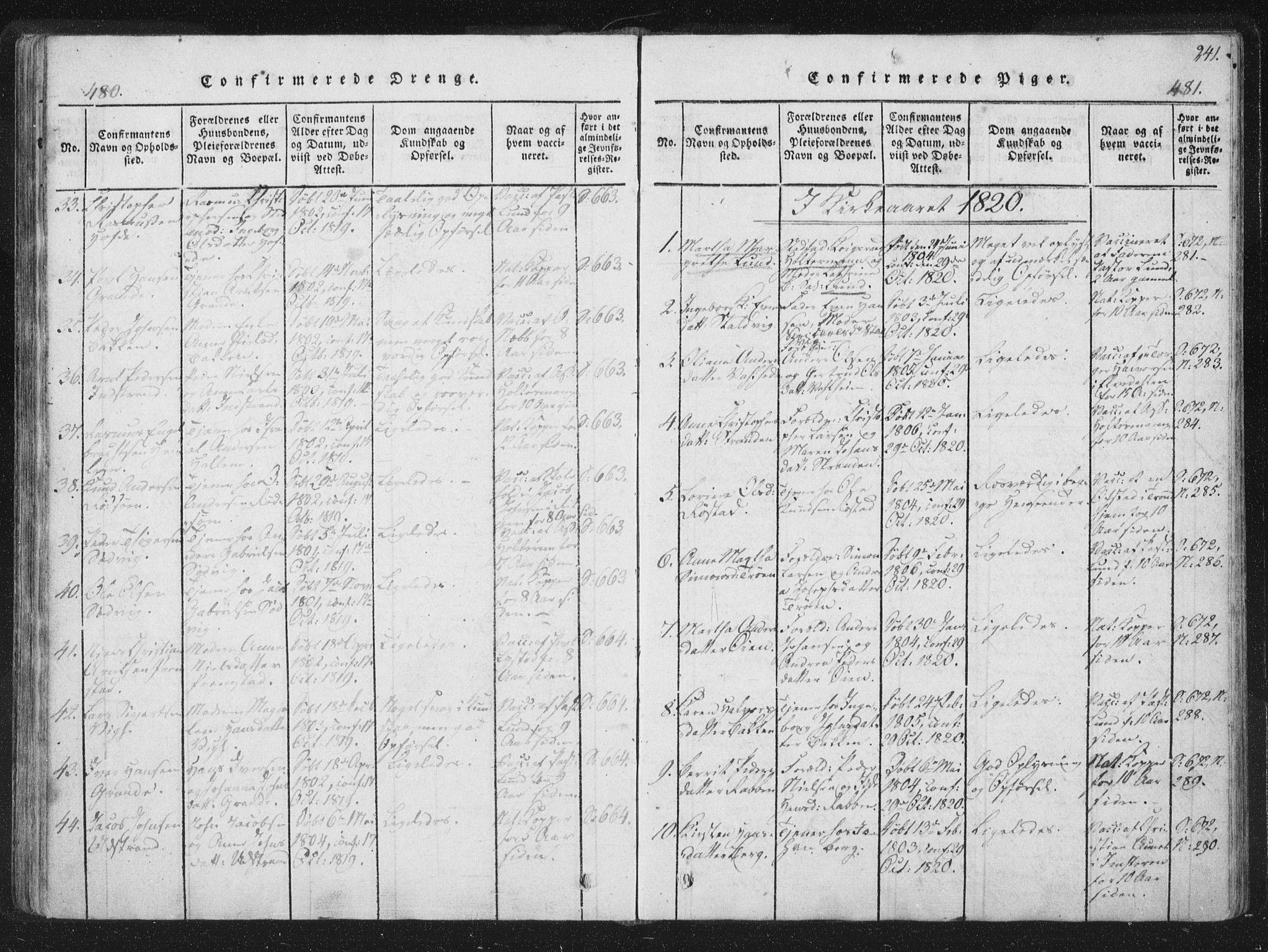 SAT, Ministerialprotokoller, klokkerbøker og fødselsregistre - Sør-Trøndelag, 659/L0734: Ministerialbok nr. 659A04, 1818-1825, s. 480-481