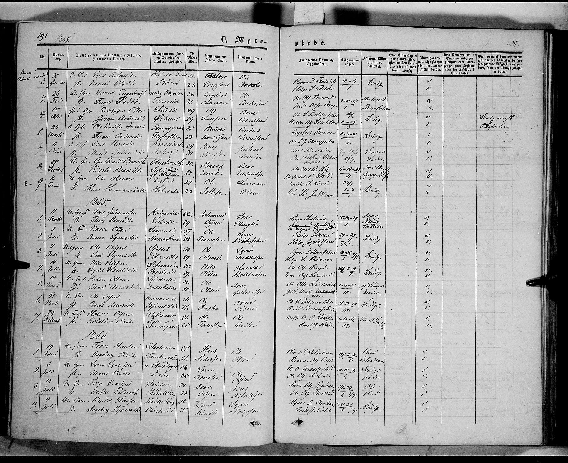 SAH, Sør-Aurdal prestekontor, Ministerialbok nr. 5, 1849-1876, s. 191