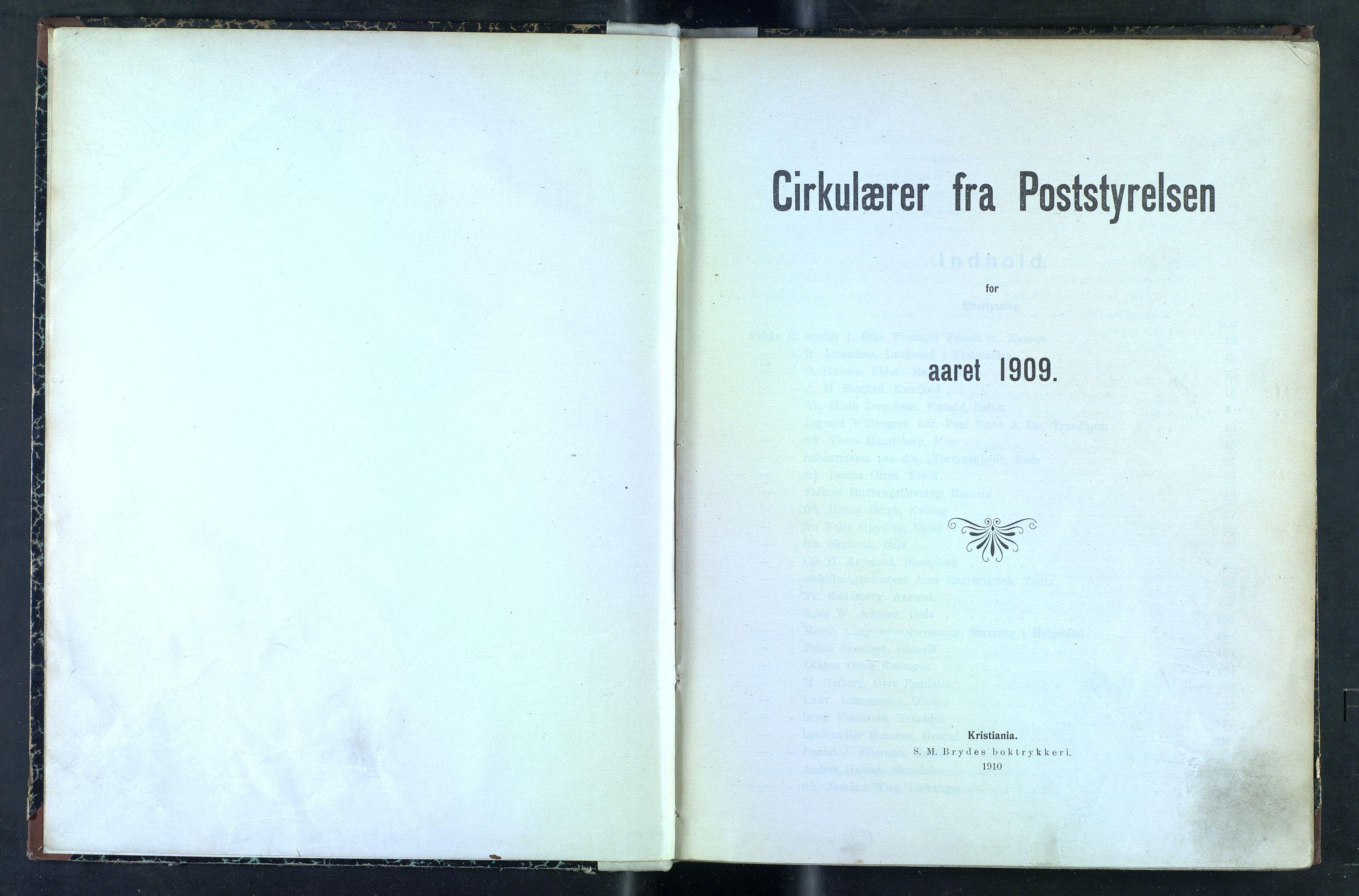 NOPO, Norges Postmuseums bibliotek, -/-: Sirkulærer fra Poststyrelsen, 1909