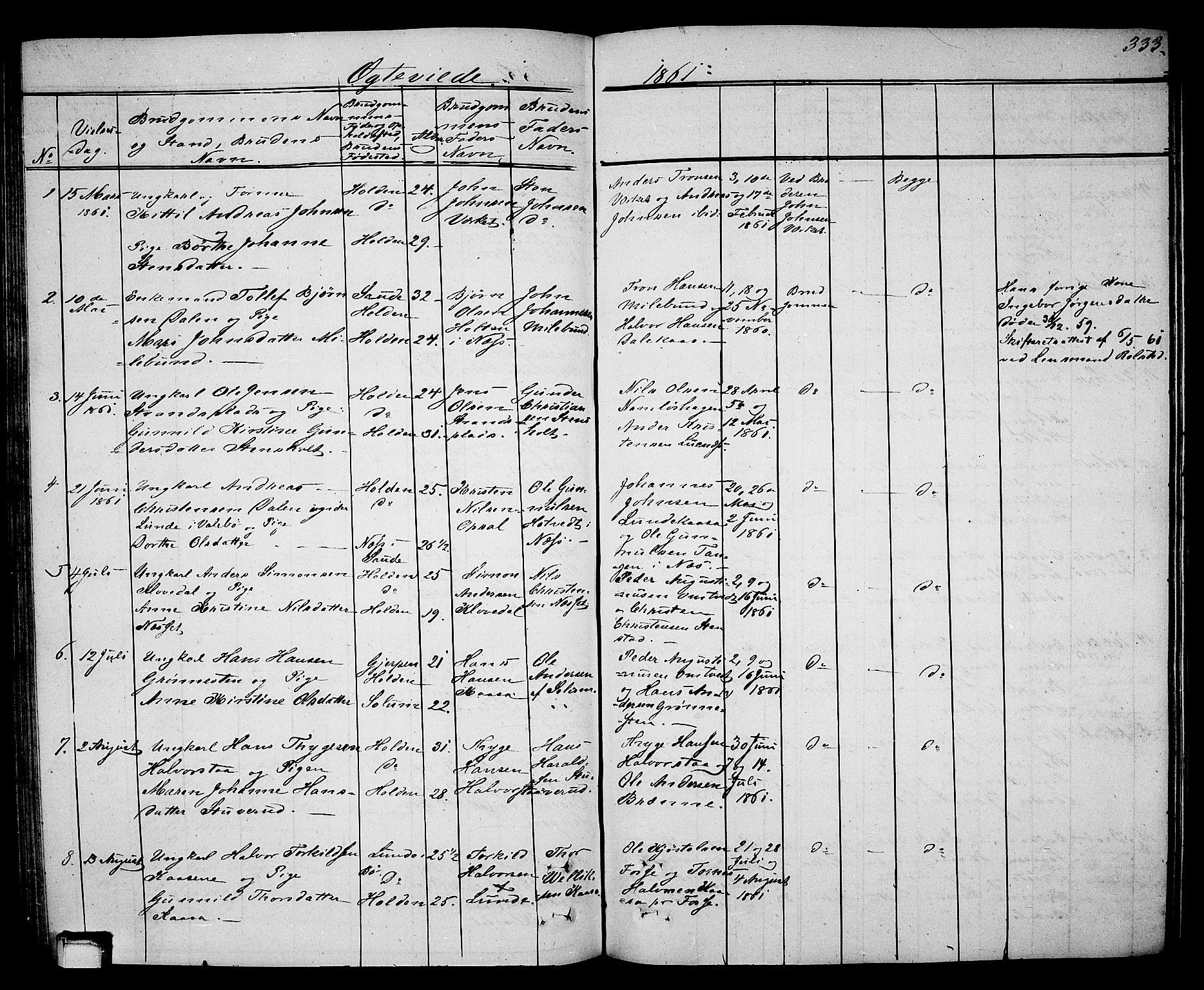 SAKO, Holla kirkebøker, G/Ga/L0003: Klokkerbok nr. I 3, 1849-1866, s. 333