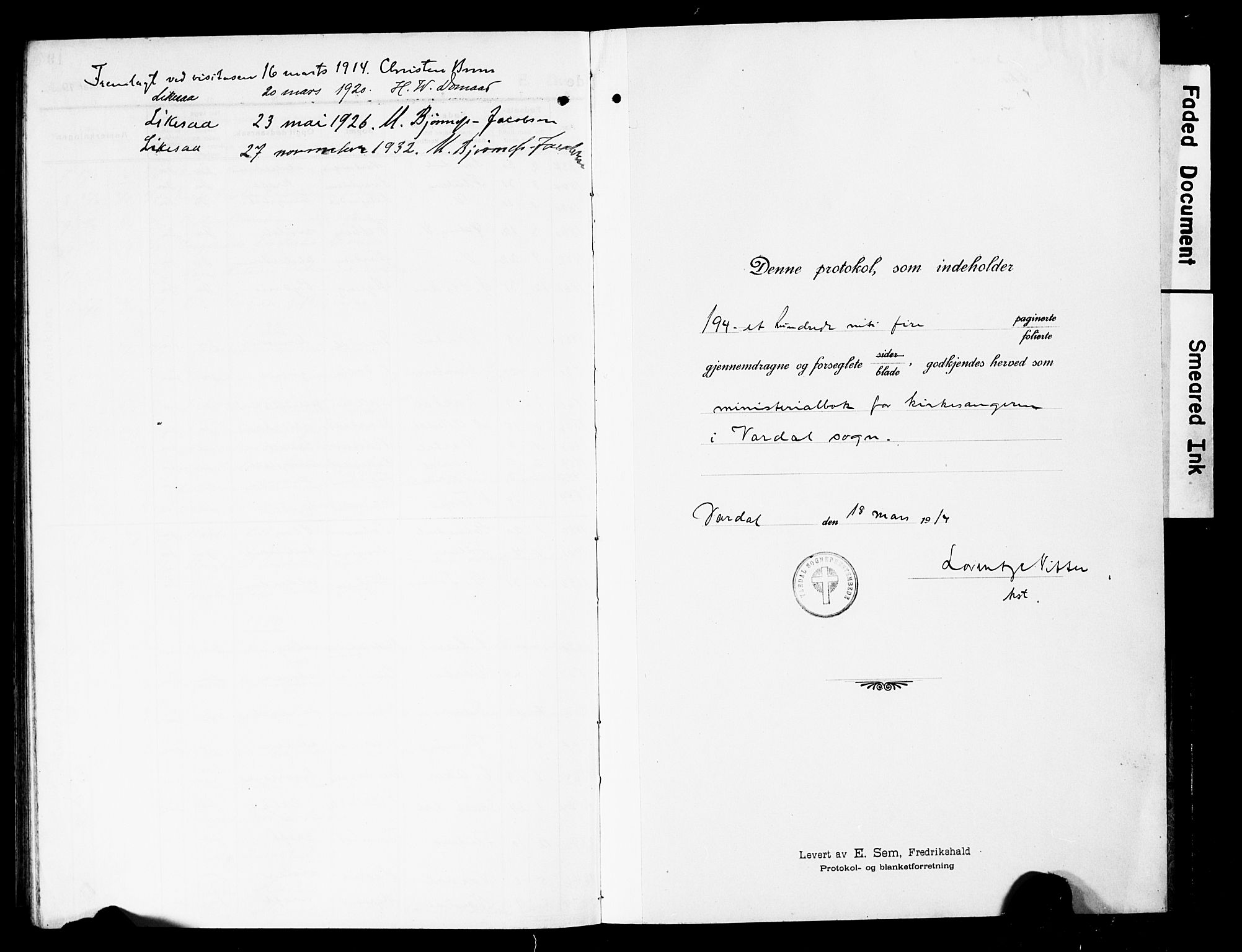 SAH, Vardal prestekontor, H/Ha/Hab/L0015: Klokkerbok nr. 15, 1914-1931