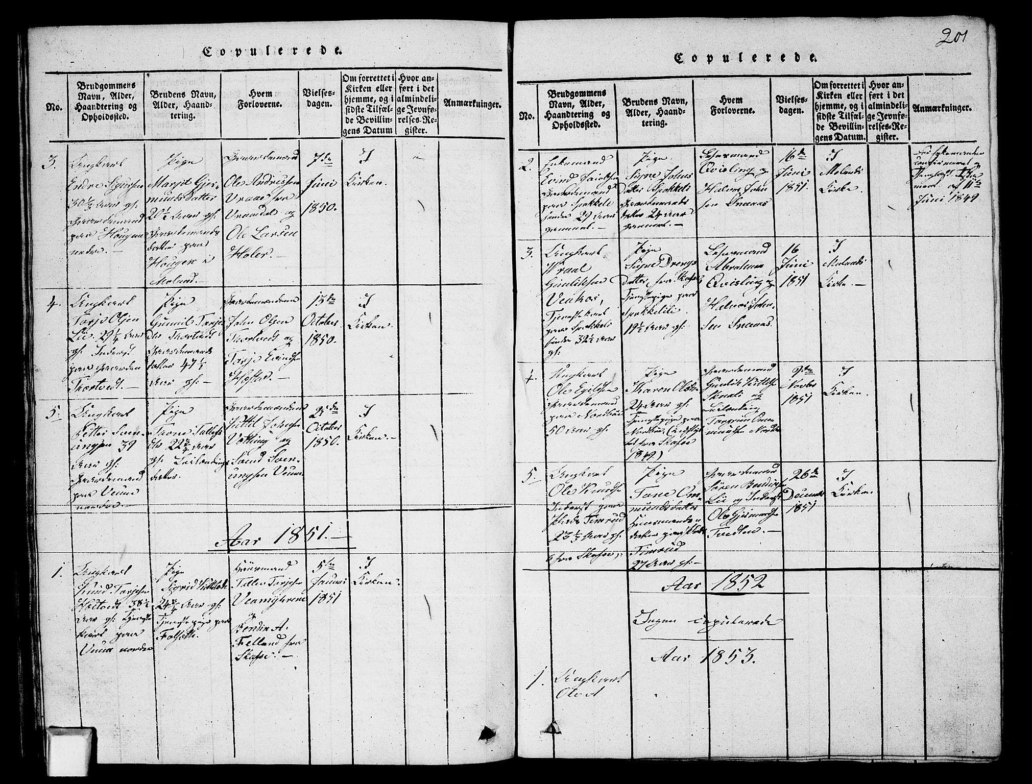SAKO, Fyresdal kirkebøker, G/Ga/L0003: Klokkerbok nr. I 3, 1815-1863, s. 201