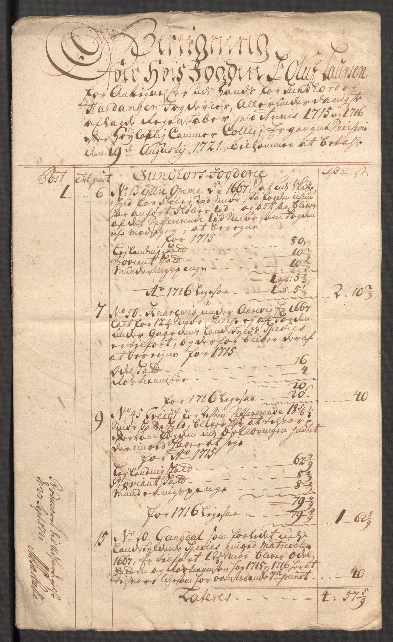 RA, Rentekammeret inntil 1814, Reviderte regnskaper, Fogderegnskap, R48/L3000: Fogderegnskap Sunnhordland og Hardanger, 1721, s. 425