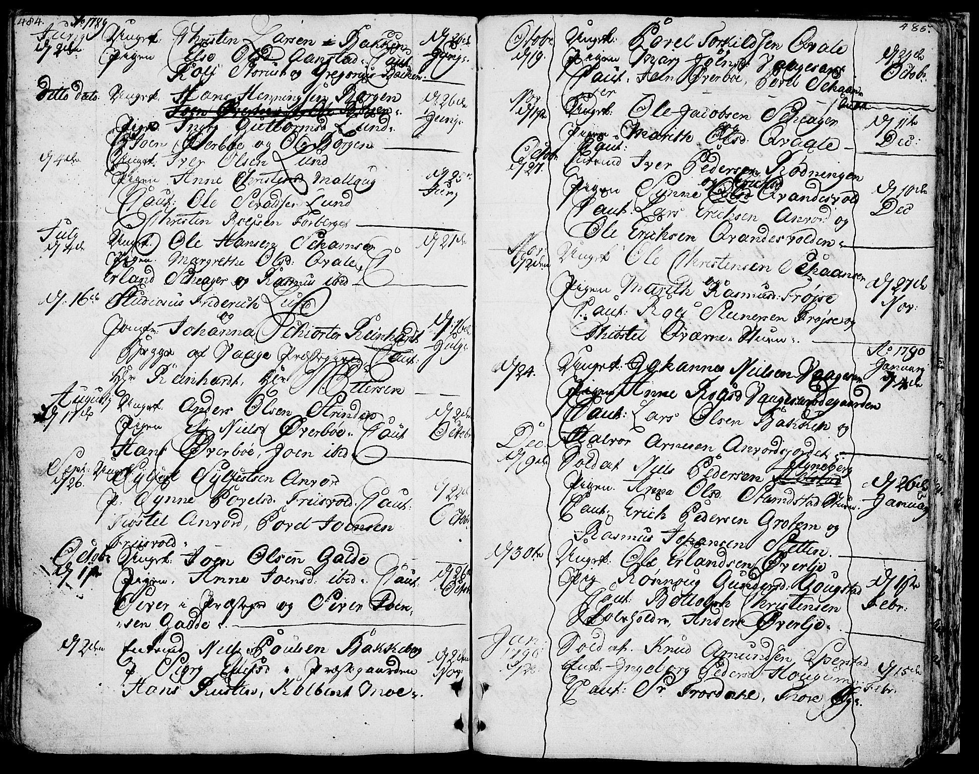 SAH, Lom prestekontor, K/L0002: Ministerialbok nr. 2, 1749-1801, s. 484-485