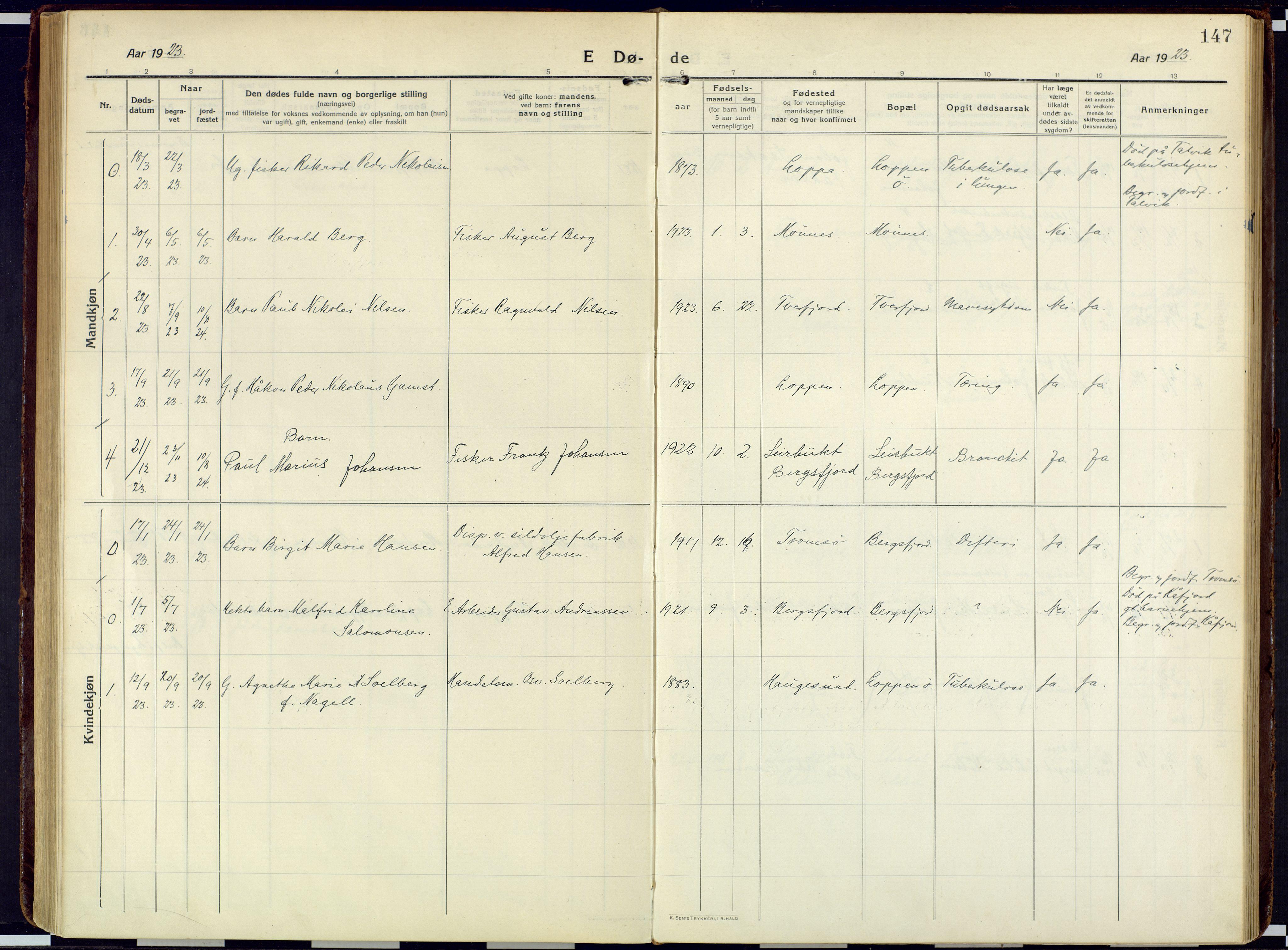 SATØ, Loppa sokneprestkontor, H/Ha/L0013kirke: Ministerialbok nr. 13, 1920-1932, s. 147