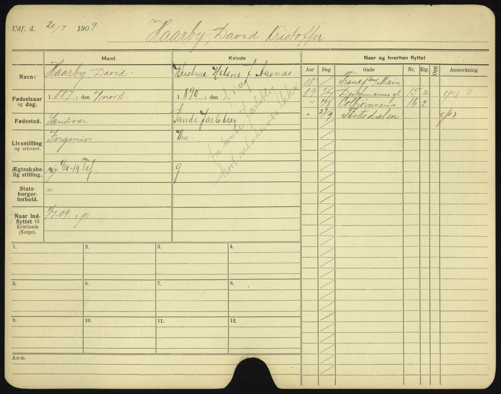 SAO, Oslo folkeregister, Registerkort, F/Fa/Fac/L0003: Menn, 1906-1914, s. 951a