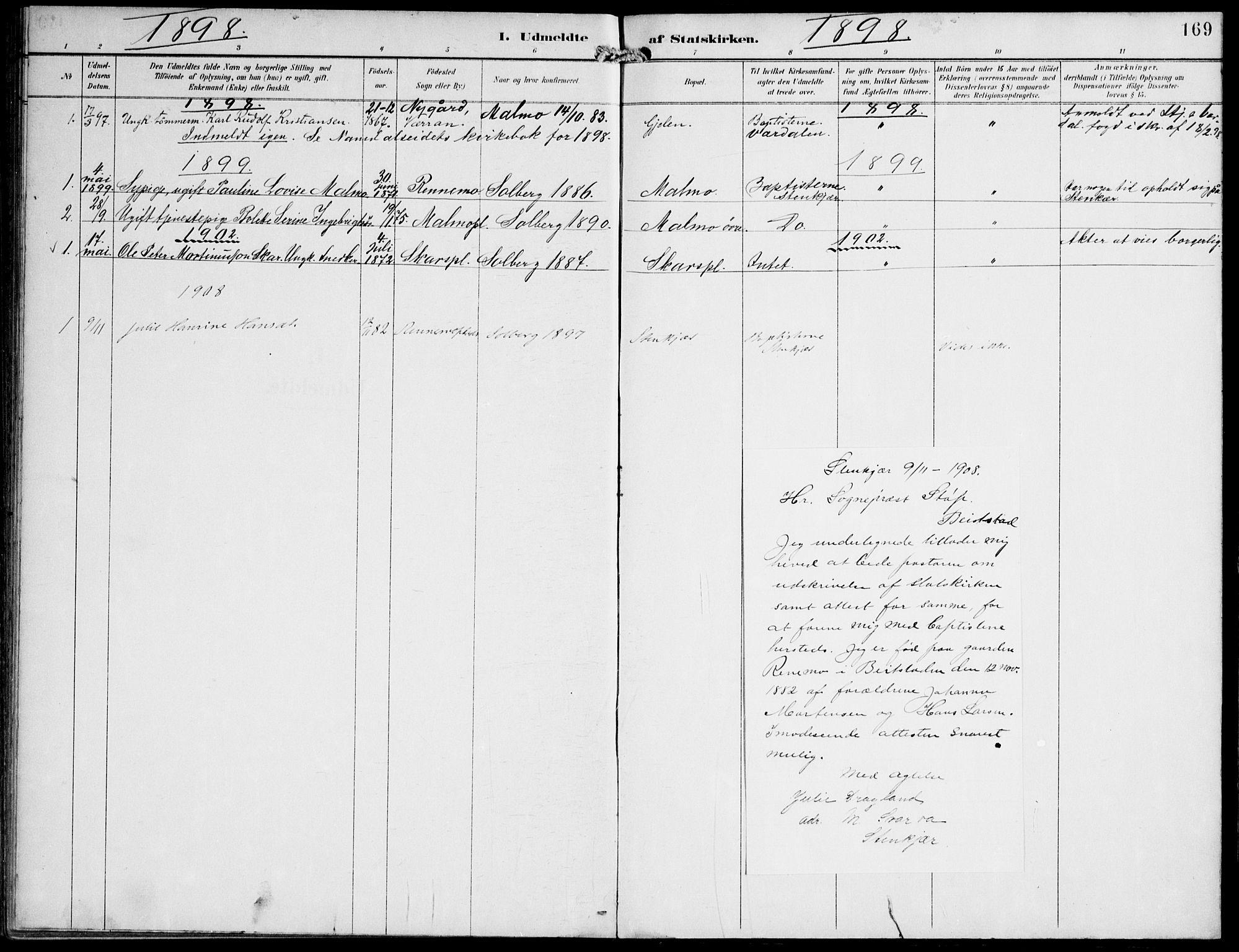 SAT, Ministerialprotokoller, klokkerbøker og fødselsregistre - Nord-Trøndelag, 745/L0430: Ministerialbok nr. 745A02, 1895-1913, s. 169