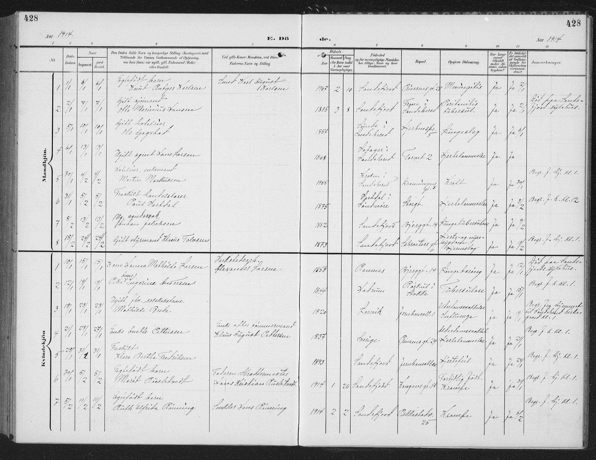 SAKO, Sandefjord kirkebøker, G/Ga/L0003: Klokkerbok nr. 3, 1903-1920, s. 428