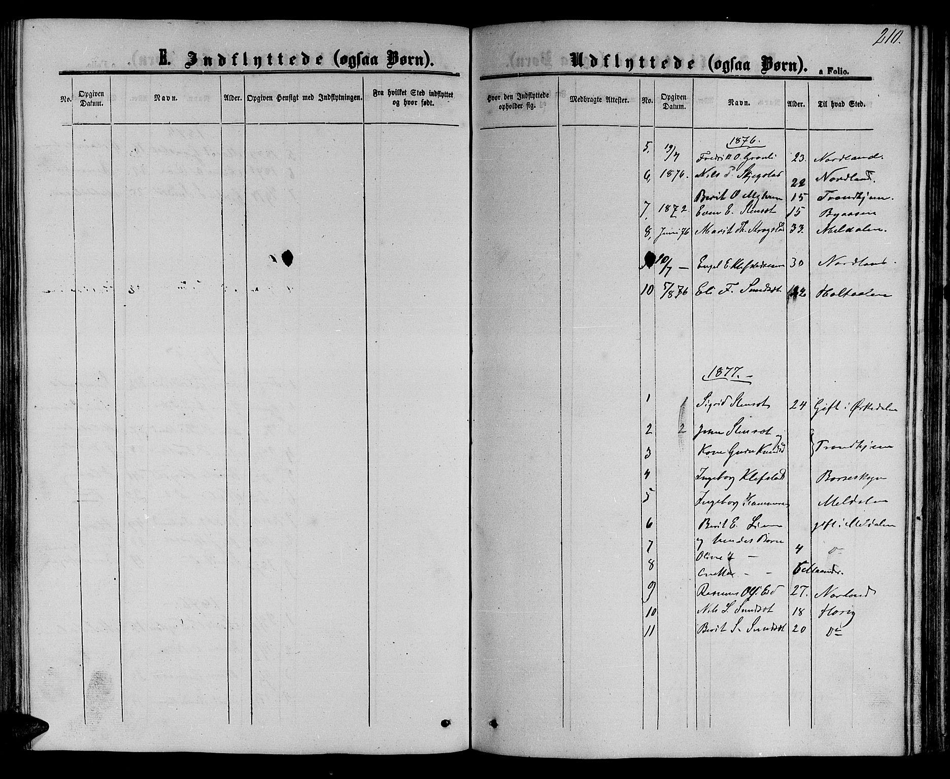 SAT, Ministerialprotokoller, klokkerbøker og fødselsregistre - Sør-Trøndelag, 694/L1131: Klokkerbok nr. 694C03, 1858-1886, s. 210