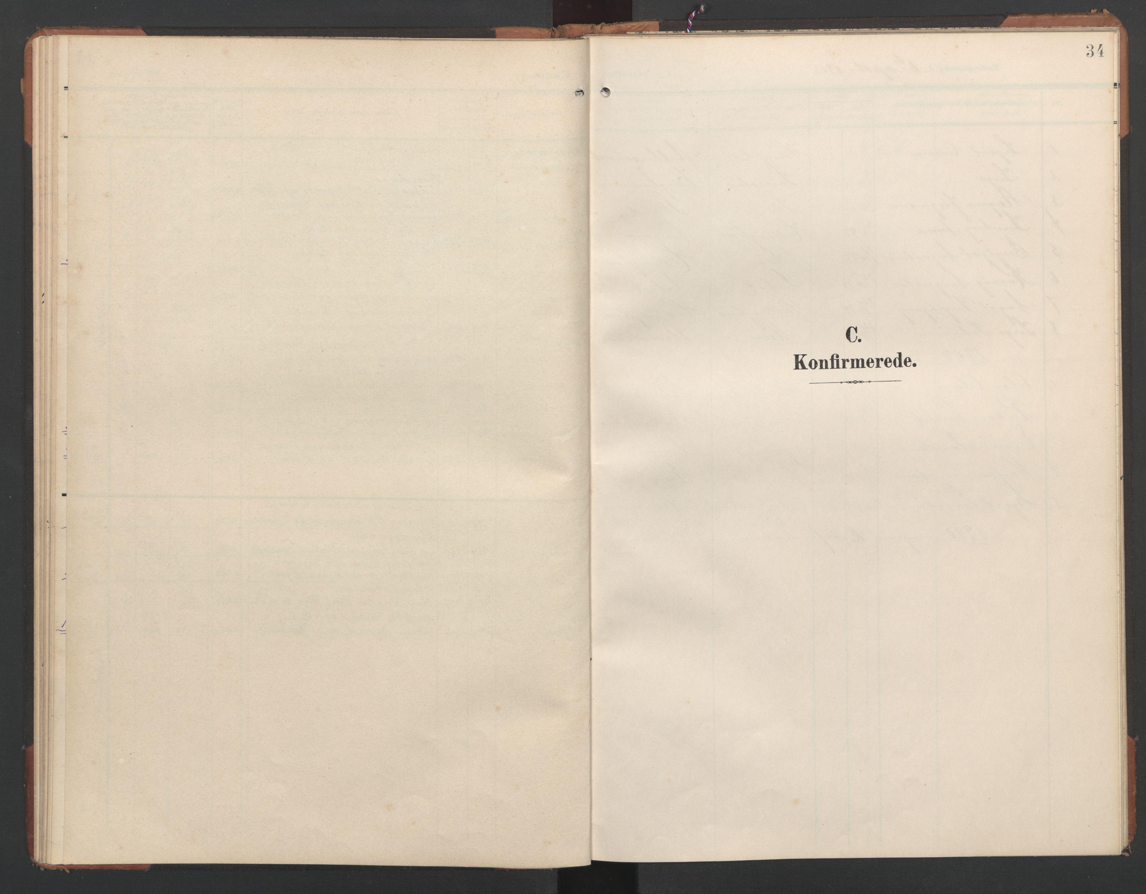 SAT, Ministerialprotokoller, klokkerbøker og fødselsregistre - Nord-Trøndelag, 748/L0465: Klokkerbok nr. 748C01, 1908-1960, s. 34