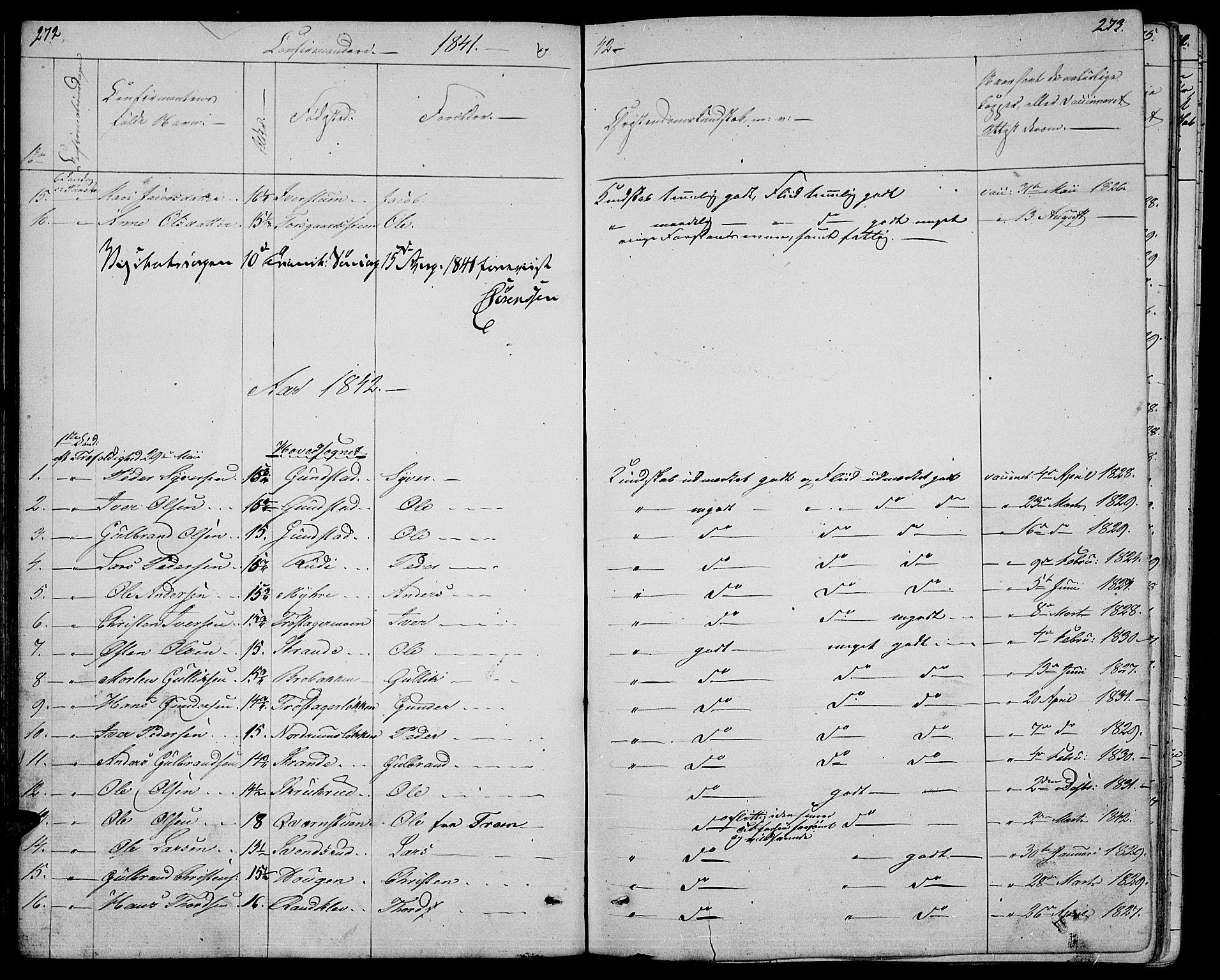 SAH, Ringebu prestekontor, Klokkerbok nr. 2, 1839-1853, s. 272-273