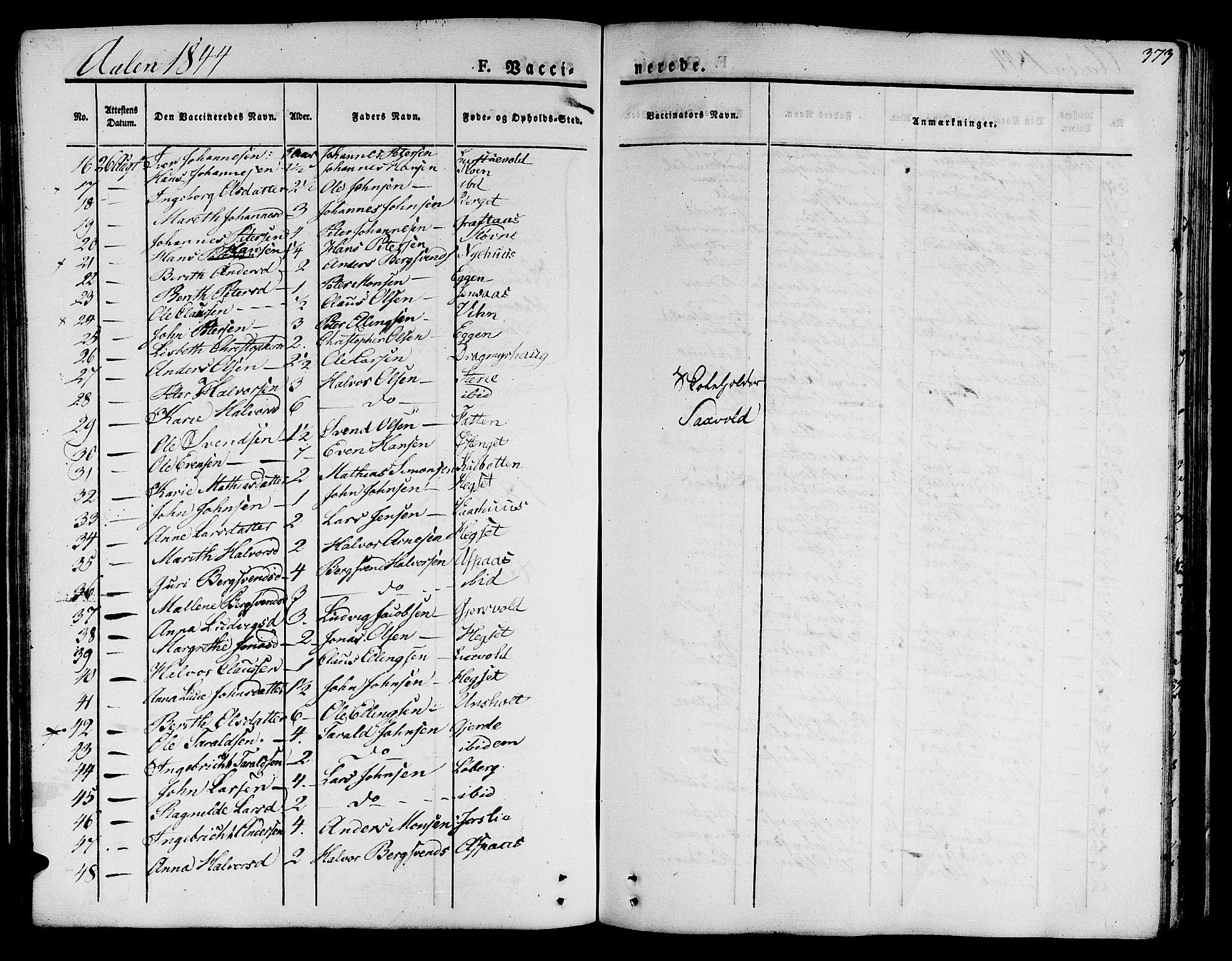 SAT, Ministerialprotokoller, klokkerbøker og fødselsregistre - Sør-Trøndelag, 685/L0962: Ministerialbok nr. 685A05 /3, 1829-1845, s. 373