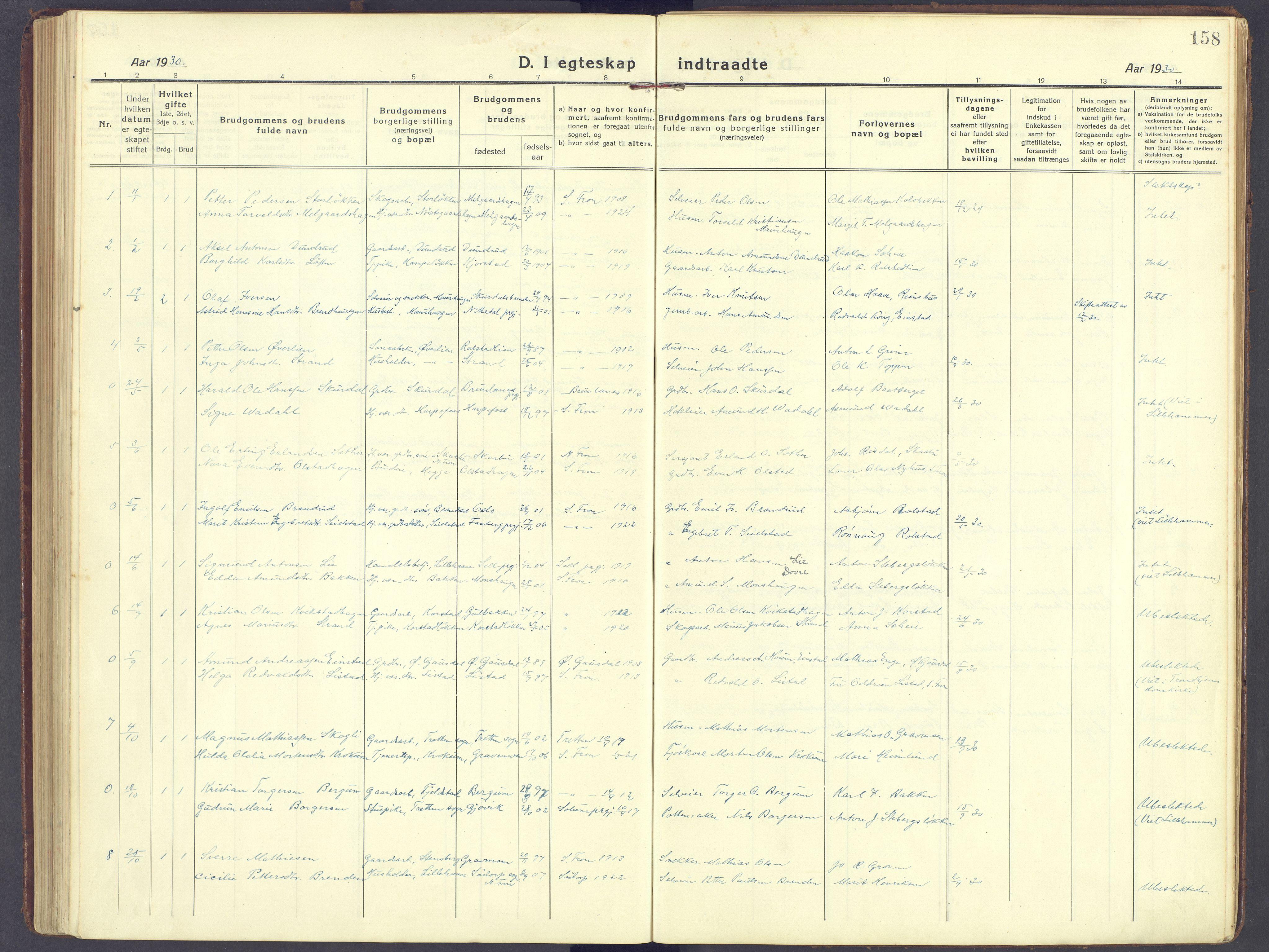 SAH, Sør-Fron prestekontor, H/Ha/Haa/L0005: Ministerialbok nr. 5, 1920-1933, s. 158