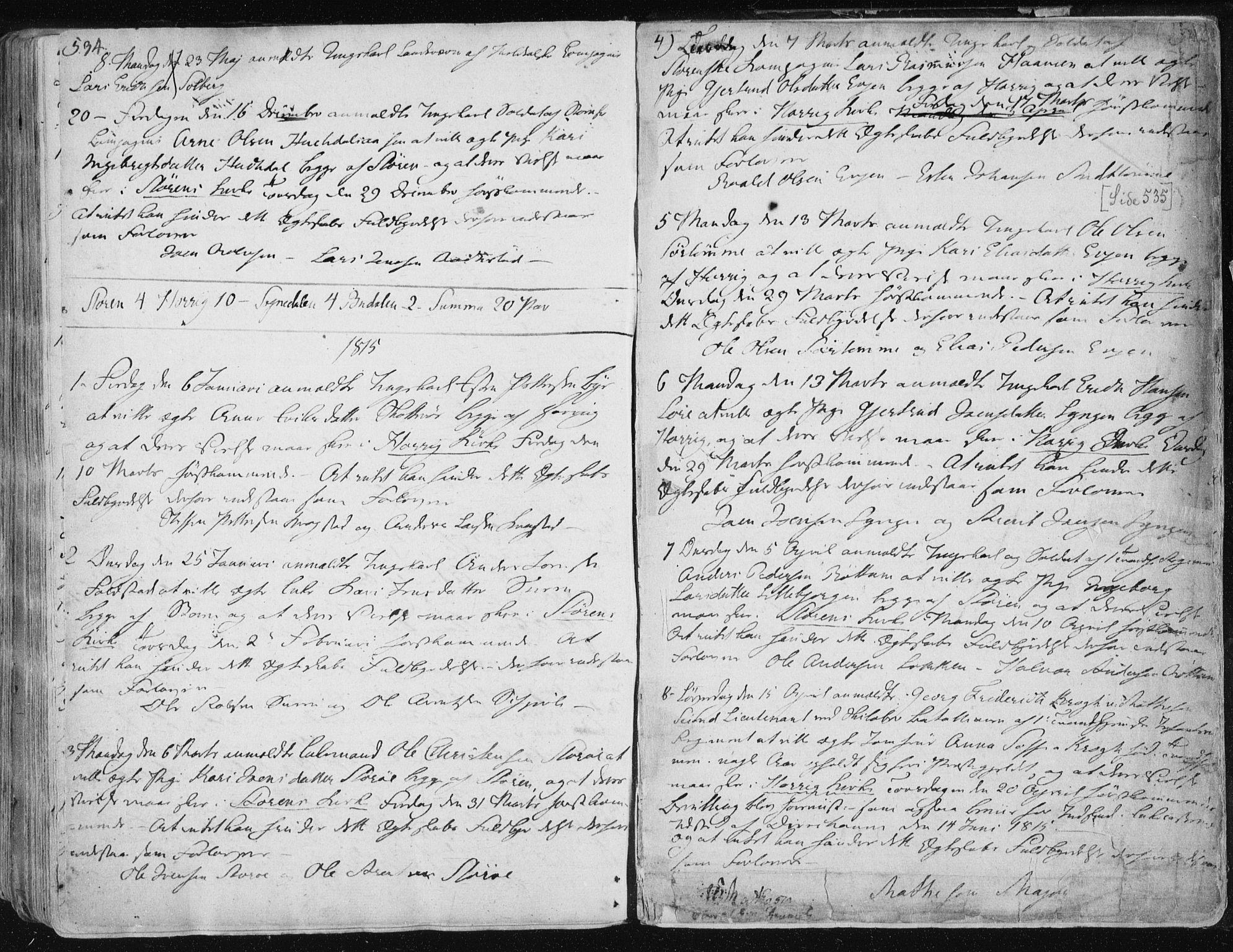 SAT, Ministerialprotokoller, klokkerbøker og fødselsregistre - Sør-Trøndelag, 687/L0992: Ministerialbok nr. 687A03 /1, 1788-1815, s. 534-535
