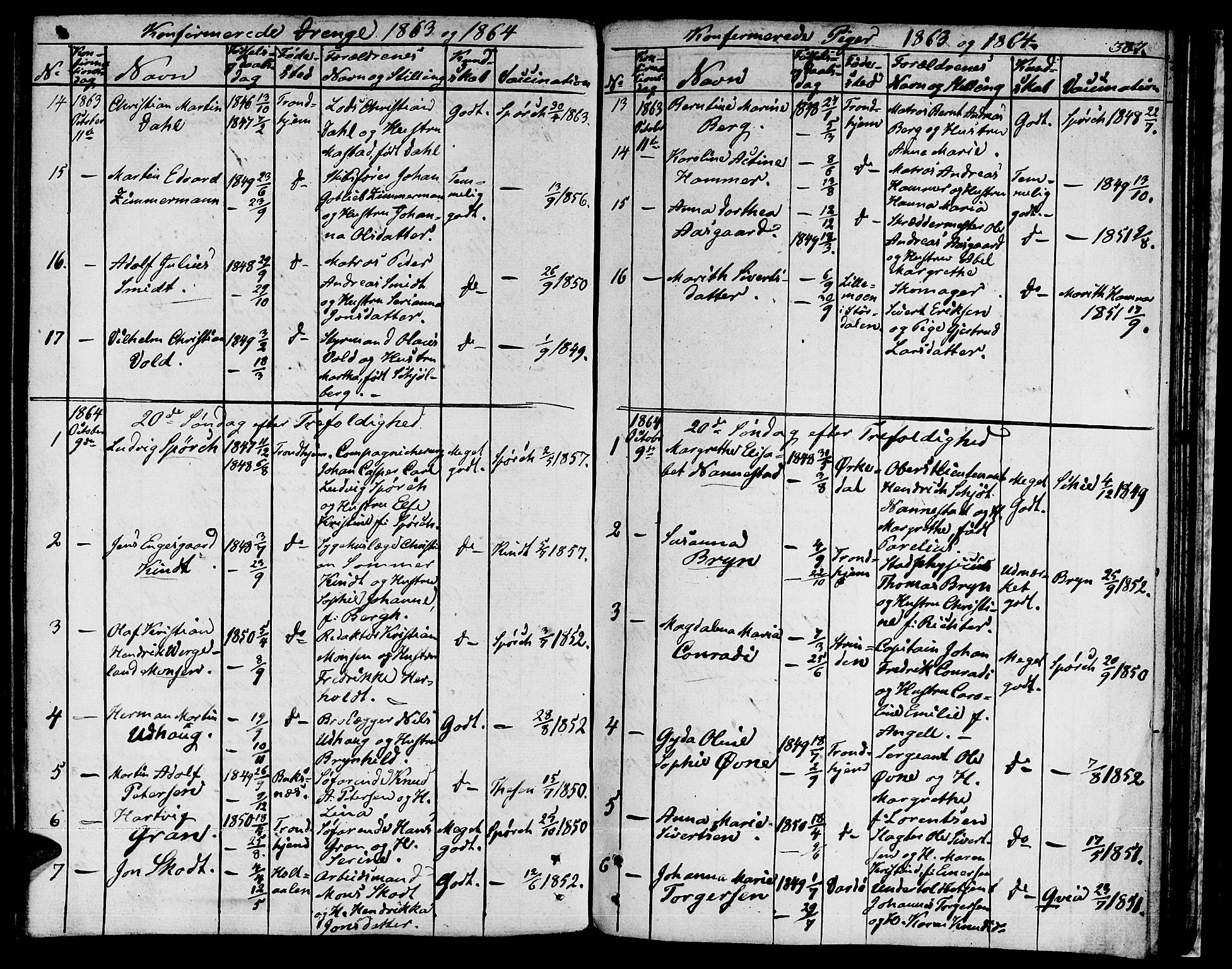 SAT, Ministerialprotokoller, klokkerbøker og fødselsregistre - Sør-Trøndelag, 601/L0070: Residerende kapellans bok nr. 601B03, 1821-1881, s. 307