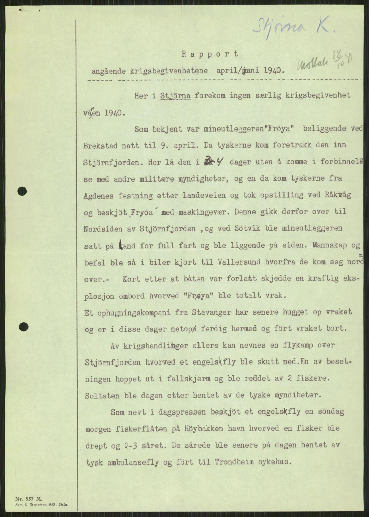 RA, Forsvaret, Forsvarets krigshistoriske avdeling, Y/Ya/L0016: II-C-11-31 - Fylkesmenn.  Rapporter om krigsbegivenhetene 1940., 1940, s. 27