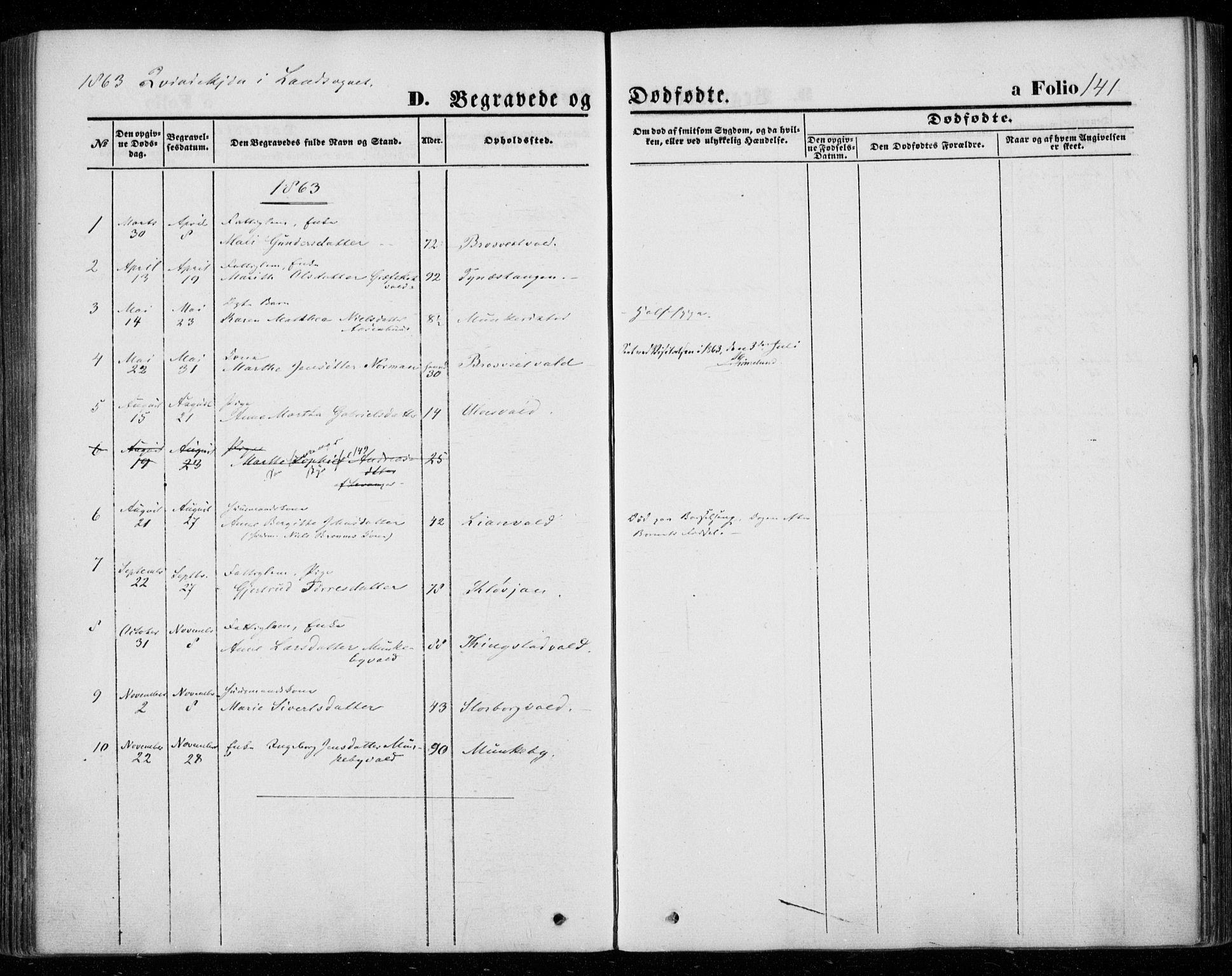 SAT, Ministerialprotokoller, klokkerbøker og fødselsregistre - Nord-Trøndelag, 720/L0184: Ministerialbok nr. 720A02 /2, 1855-1863, s. 141