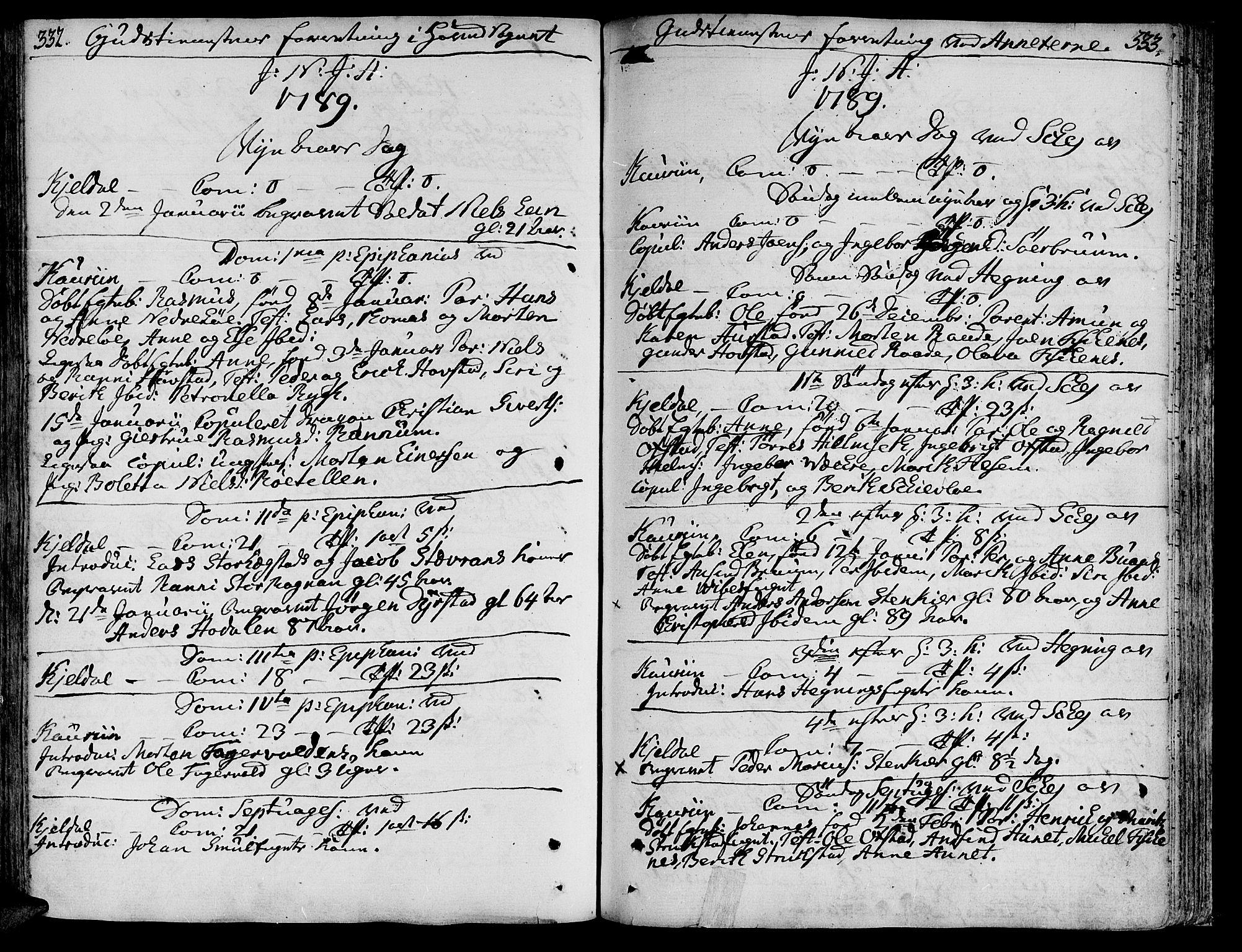 SAT, Ministerialprotokoller, klokkerbøker og fødselsregistre - Nord-Trøndelag, 735/L0331: Ministerialbok nr. 735A02, 1762-1794, s. 332-333