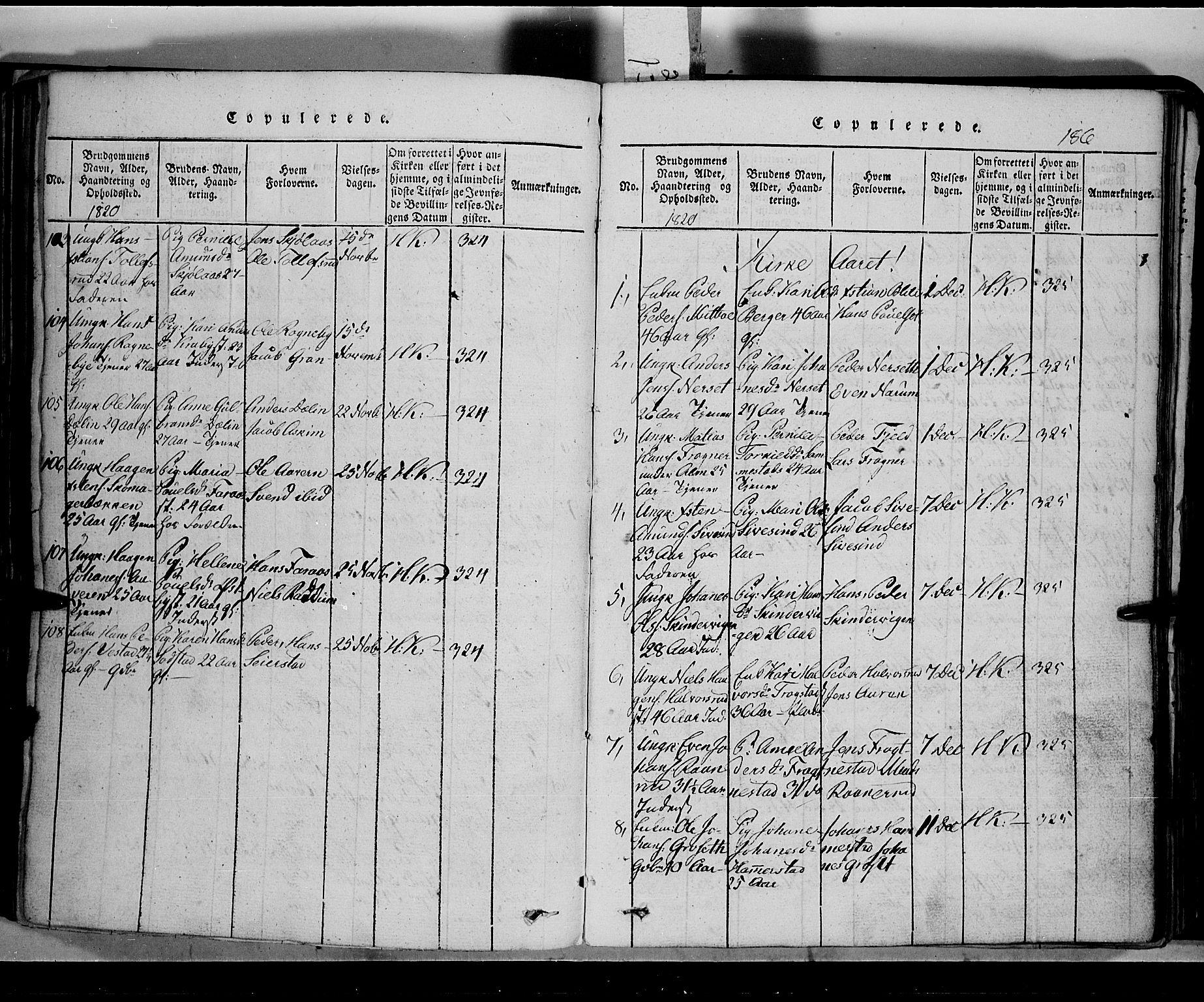 SAH, Toten prestekontor, Klokkerbok nr. 2, 1820-1827, s. 186