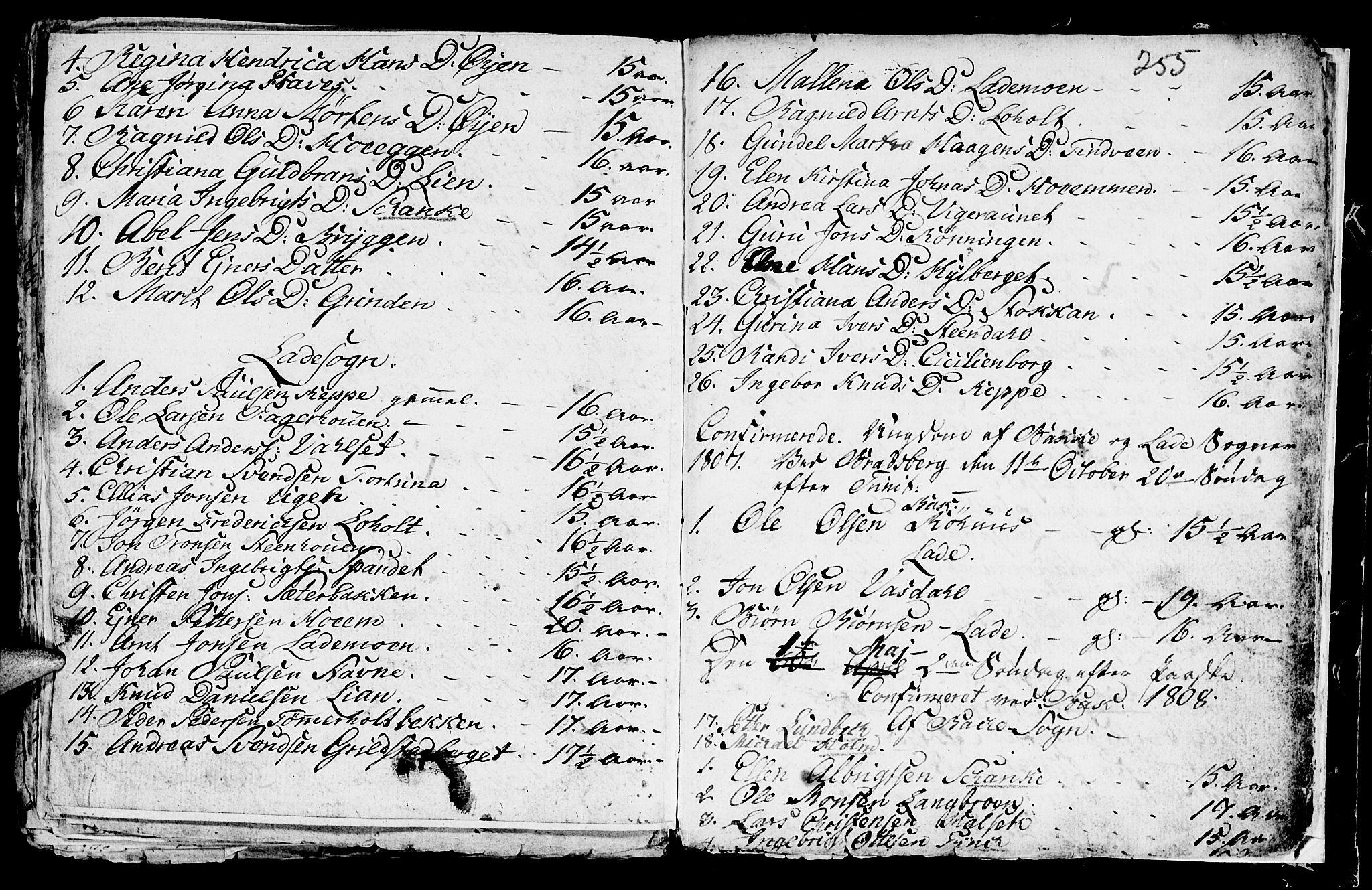SAT, Ministerialprotokoller, klokkerbøker og fødselsregistre - Sør-Trøndelag, 604/L0218: Klokkerbok nr. 604C01, 1754-1819, s. 255