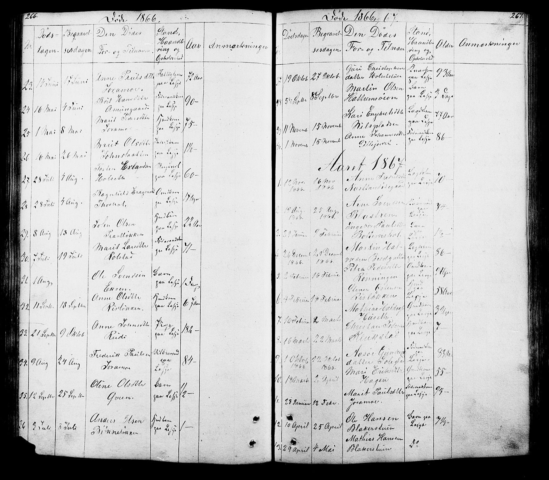 SAH, Lesja prestekontor, Klokkerbok nr. 5, 1850-1894, s. 266-267