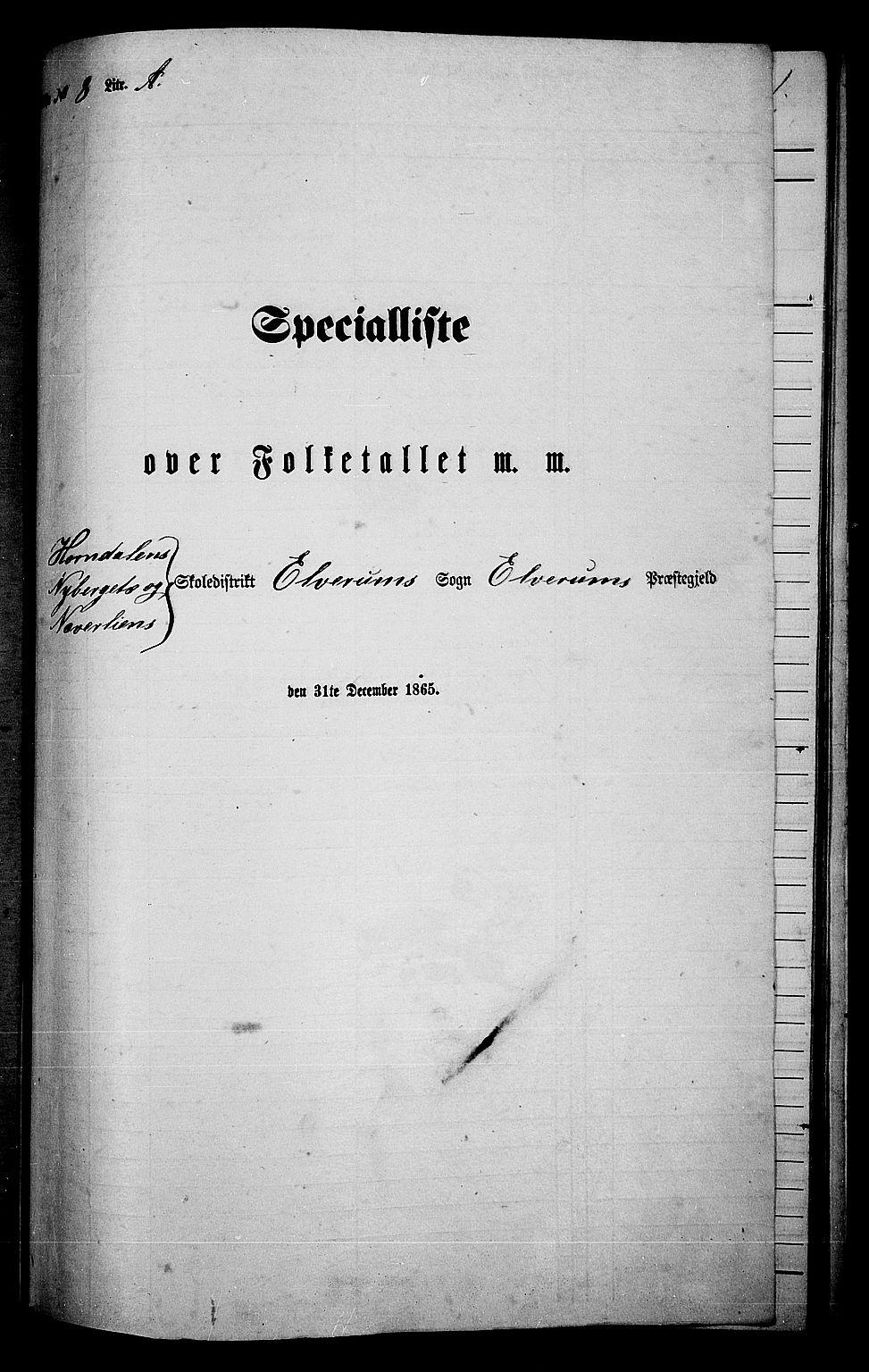 RA, Folketelling 1865 for 0427P Elverum prestegjeld, 1865, s. 183