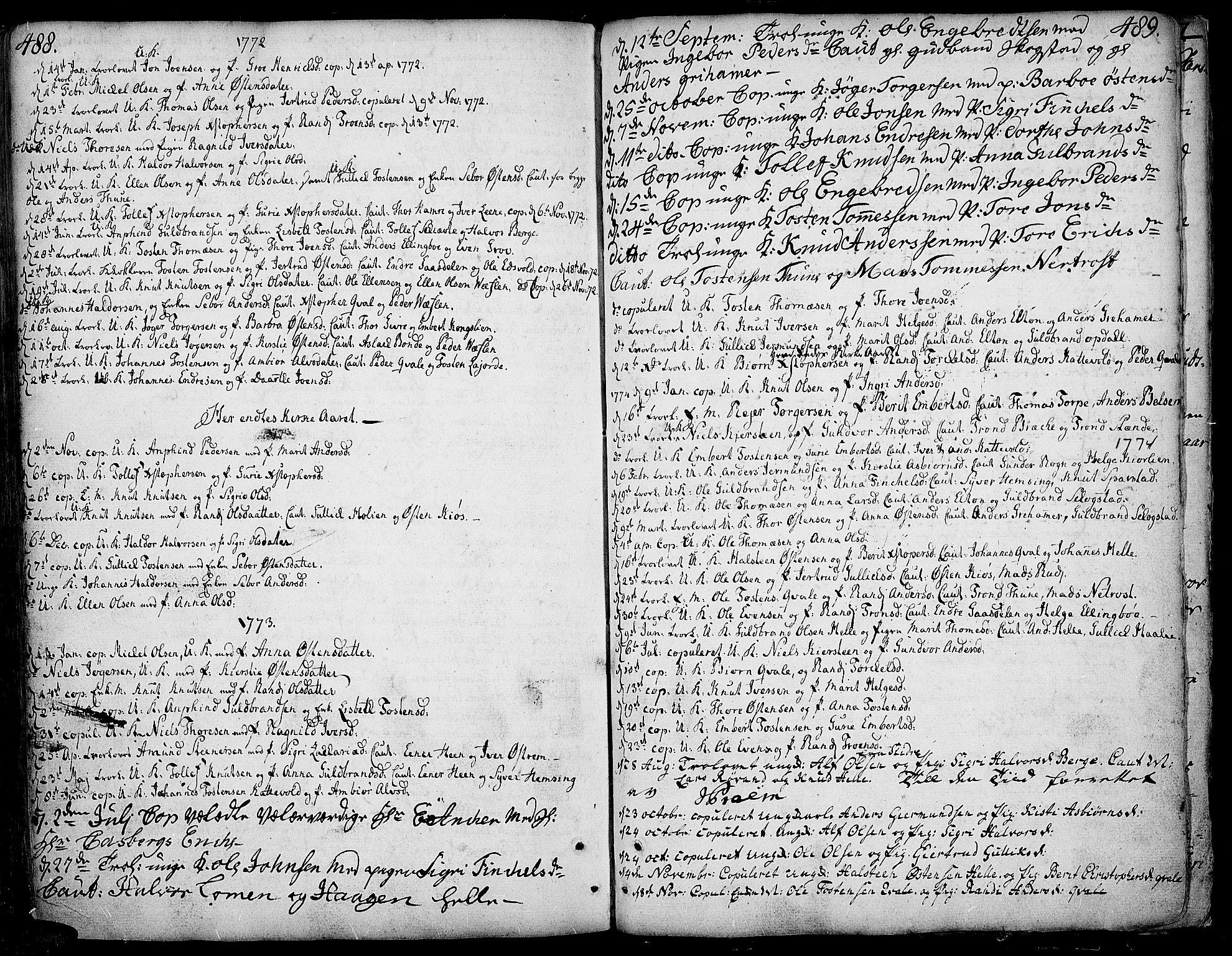 SAH, Vang prestekontor, Valdres, Ministerialbok nr. 1, 1730-1796, s. 488-489