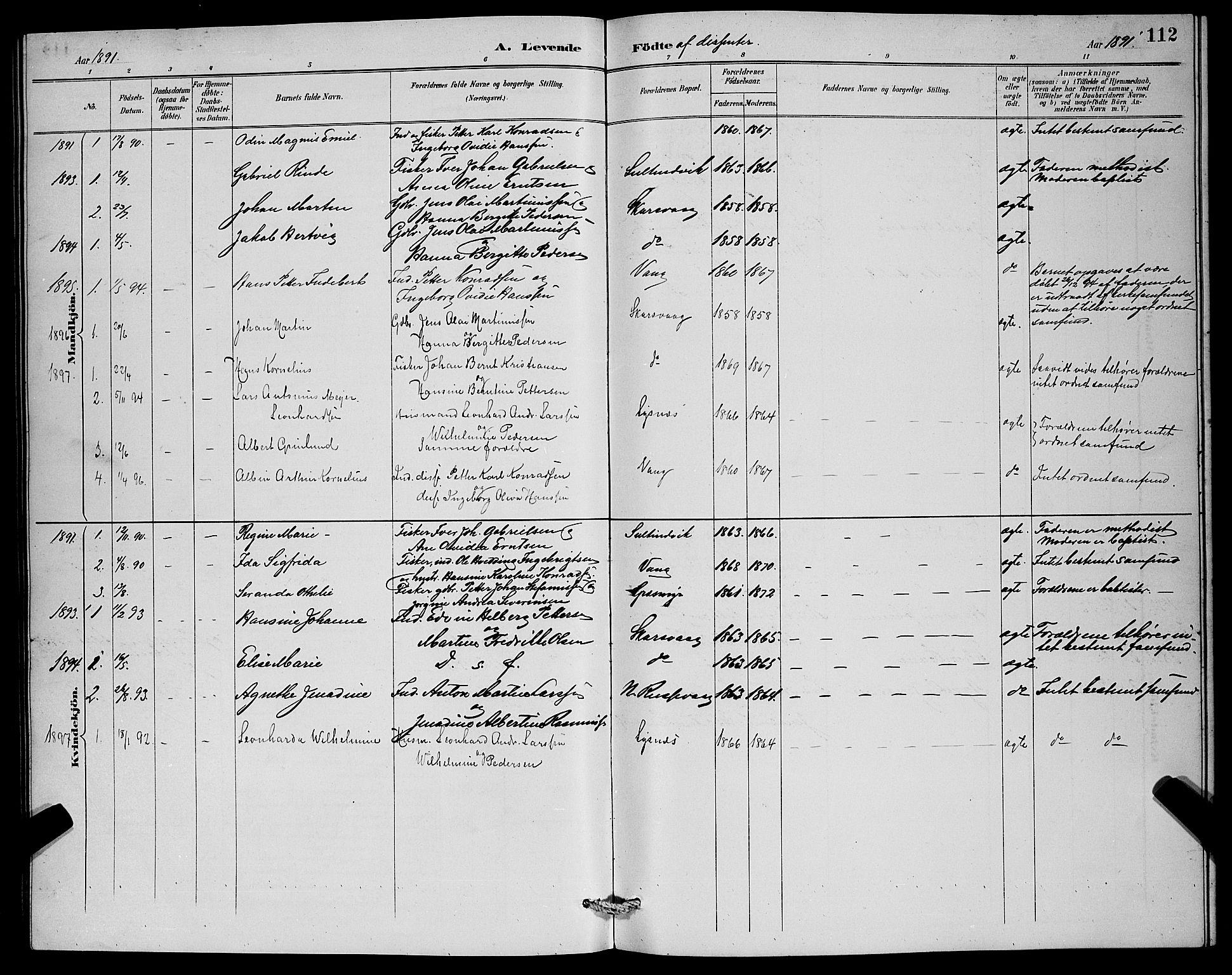 SATØ, Lenvik sokneprestembete, H/Ha: Klokkerbok nr. 7, 1890-1898, s. 112