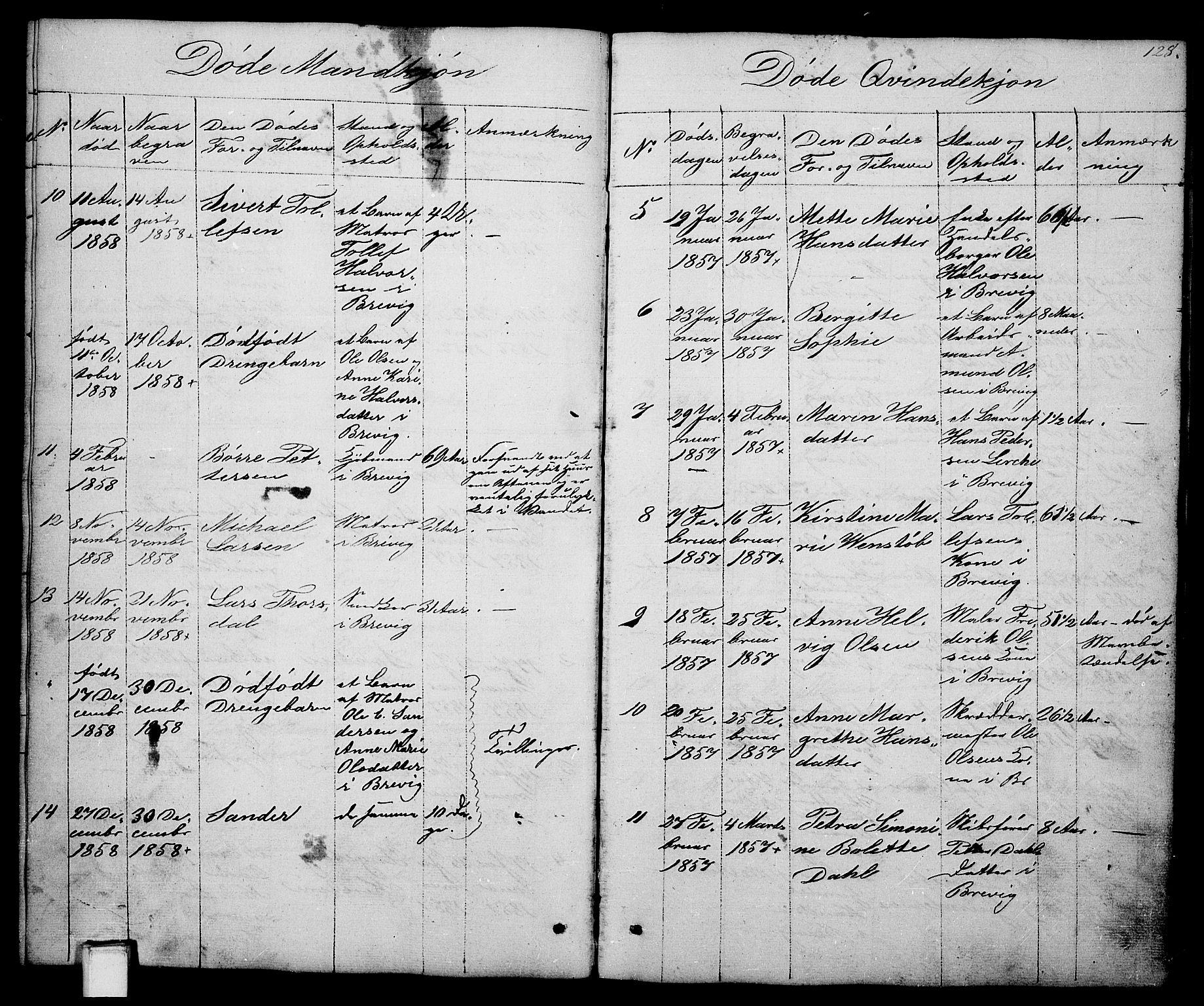 SAKO, Brevik kirkebøker, G/Ga/L0002: Klokkerbok nr. 2, 1846-1865, s. 128