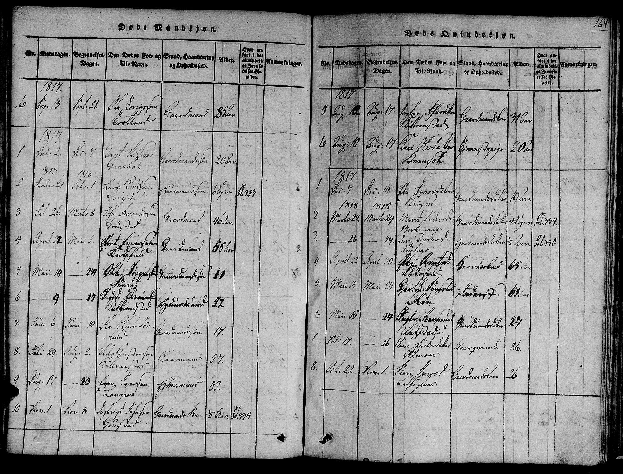 SAT, Ministerialprotokoller, klokkerbøker og fødselsregistre - Sør-Trøndelag, 691/L1068: Ministerialbok nr. 691A03 /4, 1816-1826, s. 164