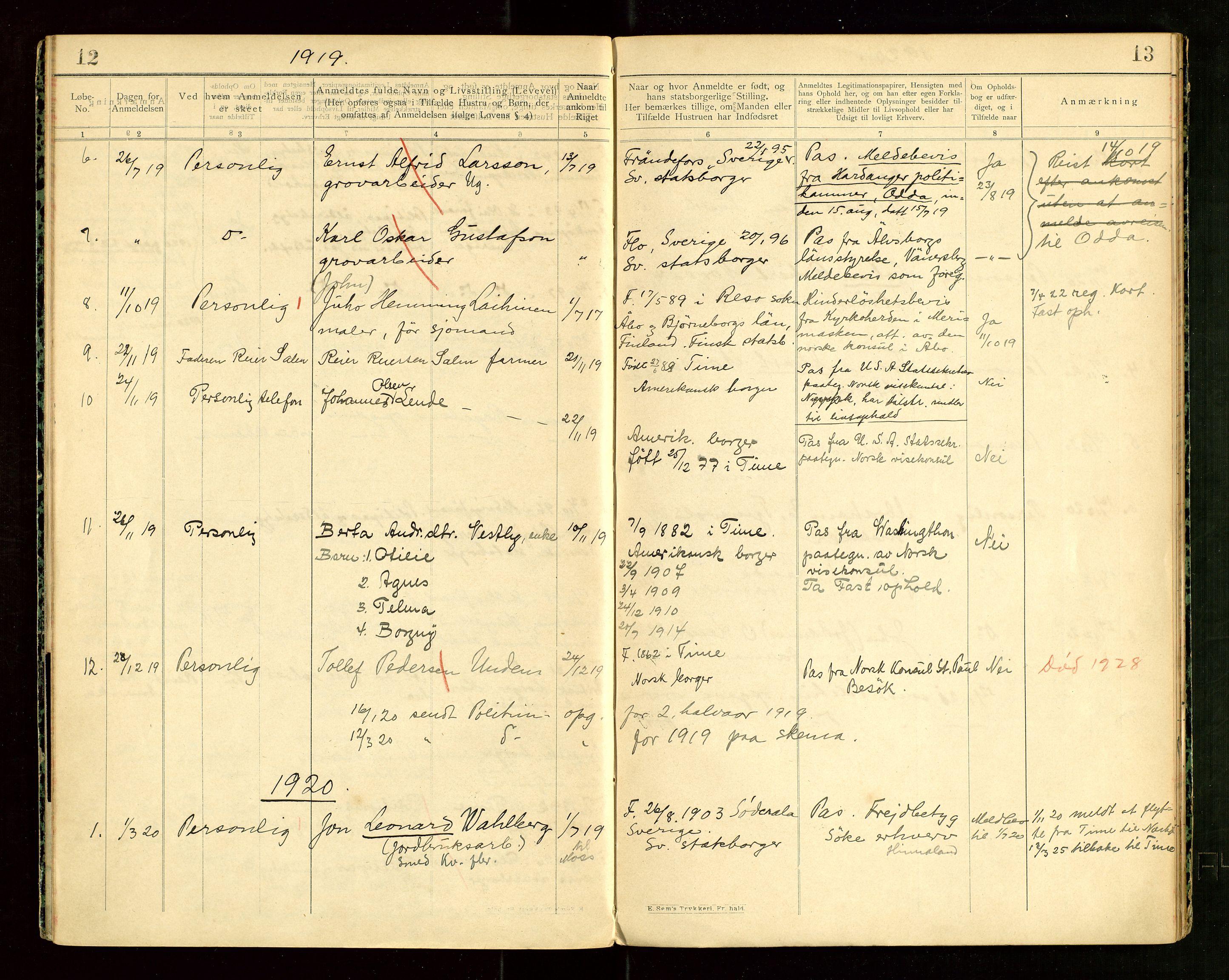 "SAST, Time lensmannskontor, Fea/L0001: ""Protokol over anmeldte fremmede Statsborgere"", 1902-1950, s. 12-13"