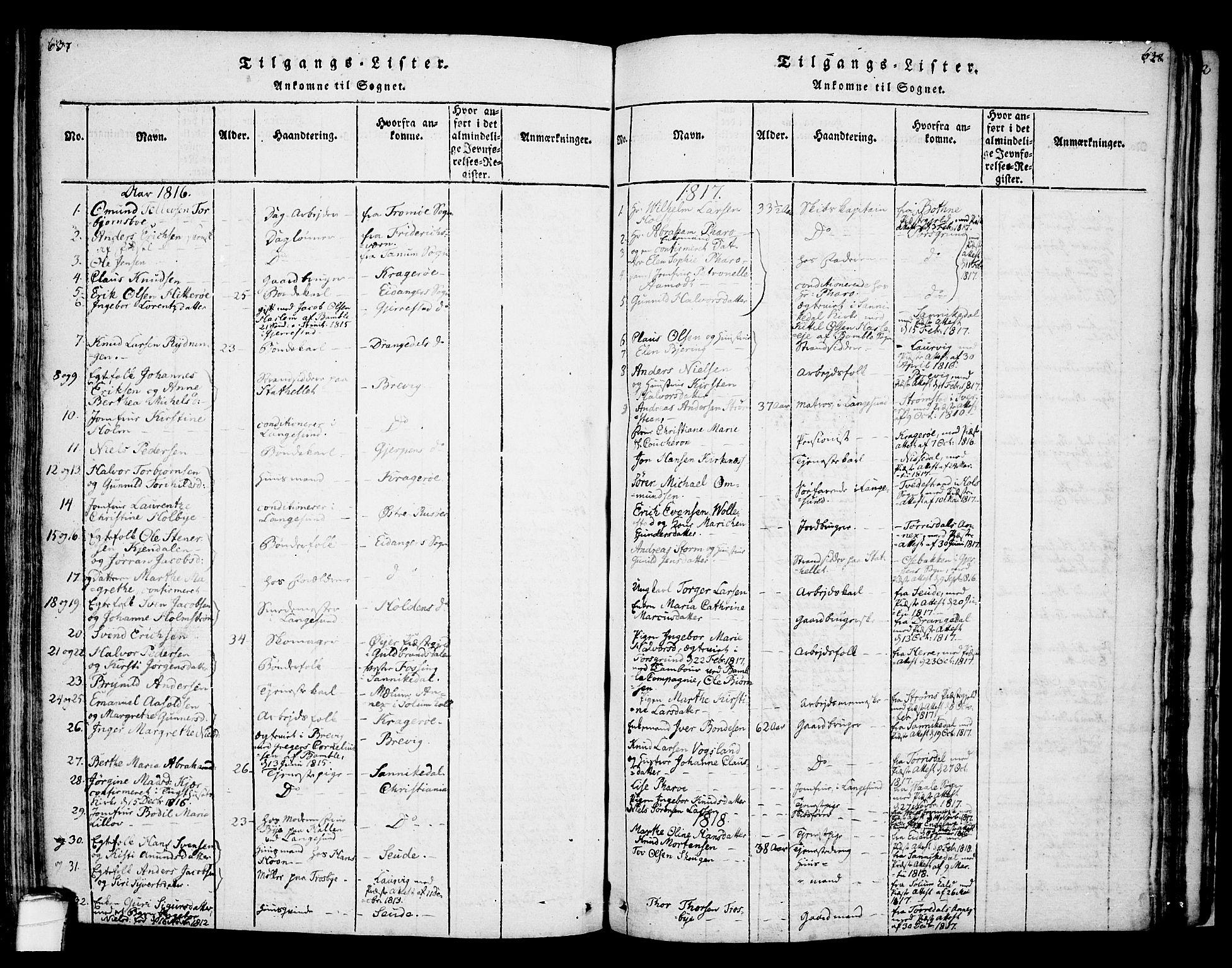 SAKO, Bamble kirkebøker, F/Fa/L0003: Ministerialbok nr. I 3 /1, 1814-1834, s. 637-638