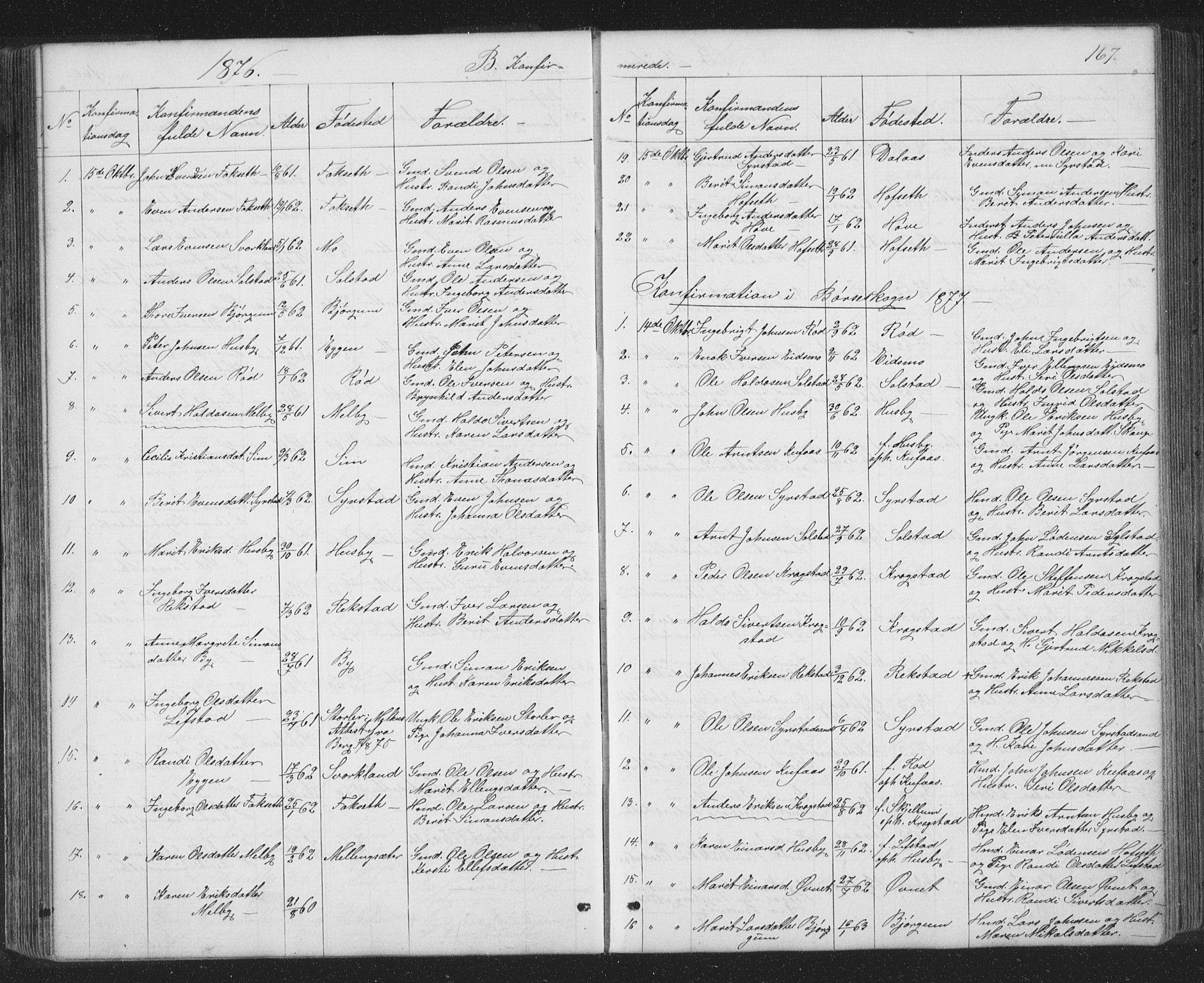 SAT, Ministerialprotokoller, klokkerbøker og fødselsregistre - Sør-Trøndelag, 667/L0798: Klokkerbok nr. 667C03, 1867-1929, s. 167
