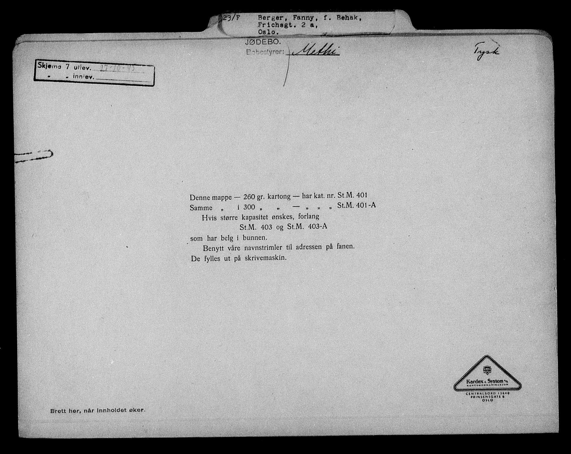RA, Justisdepartementet, Tilbakeføringskontoret for inndratte formuer, H/Hc/Hcc/L0921: --, 1945-1947, s. 2