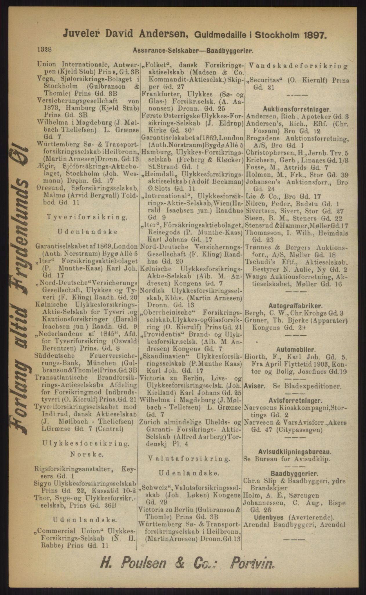 RA, Kristiania adressebok (publikasjon)*, 1903, s. 1328