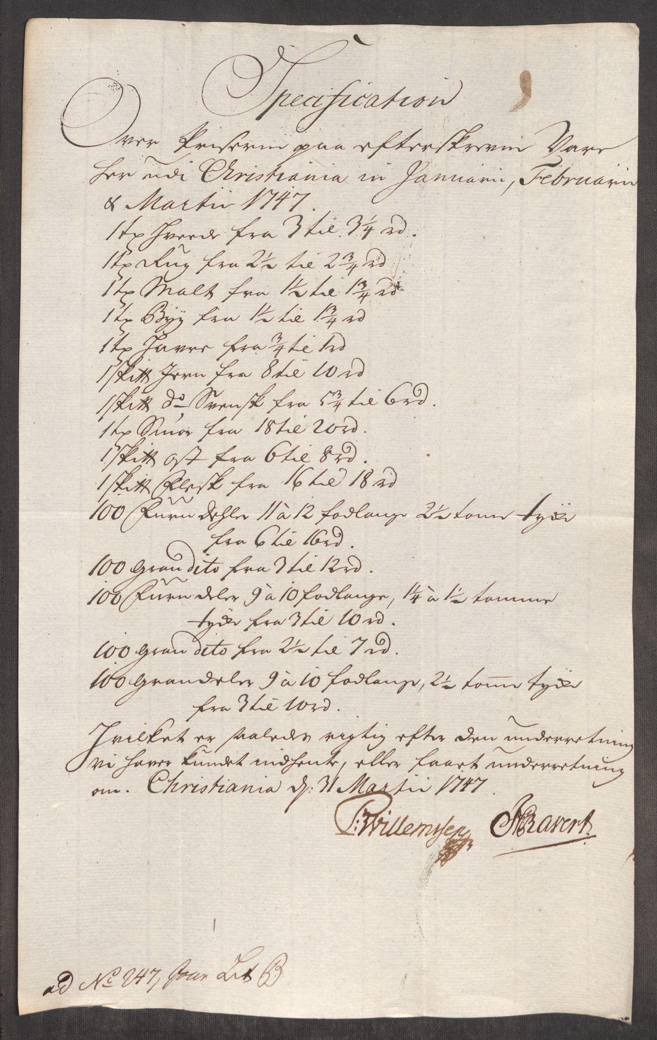 RA, Rentekammeret inntil 1814, Realistisk ordnet avdeling, Oe/L0003: [Ø1]: Priskuranter, 1745-1748, s. 499