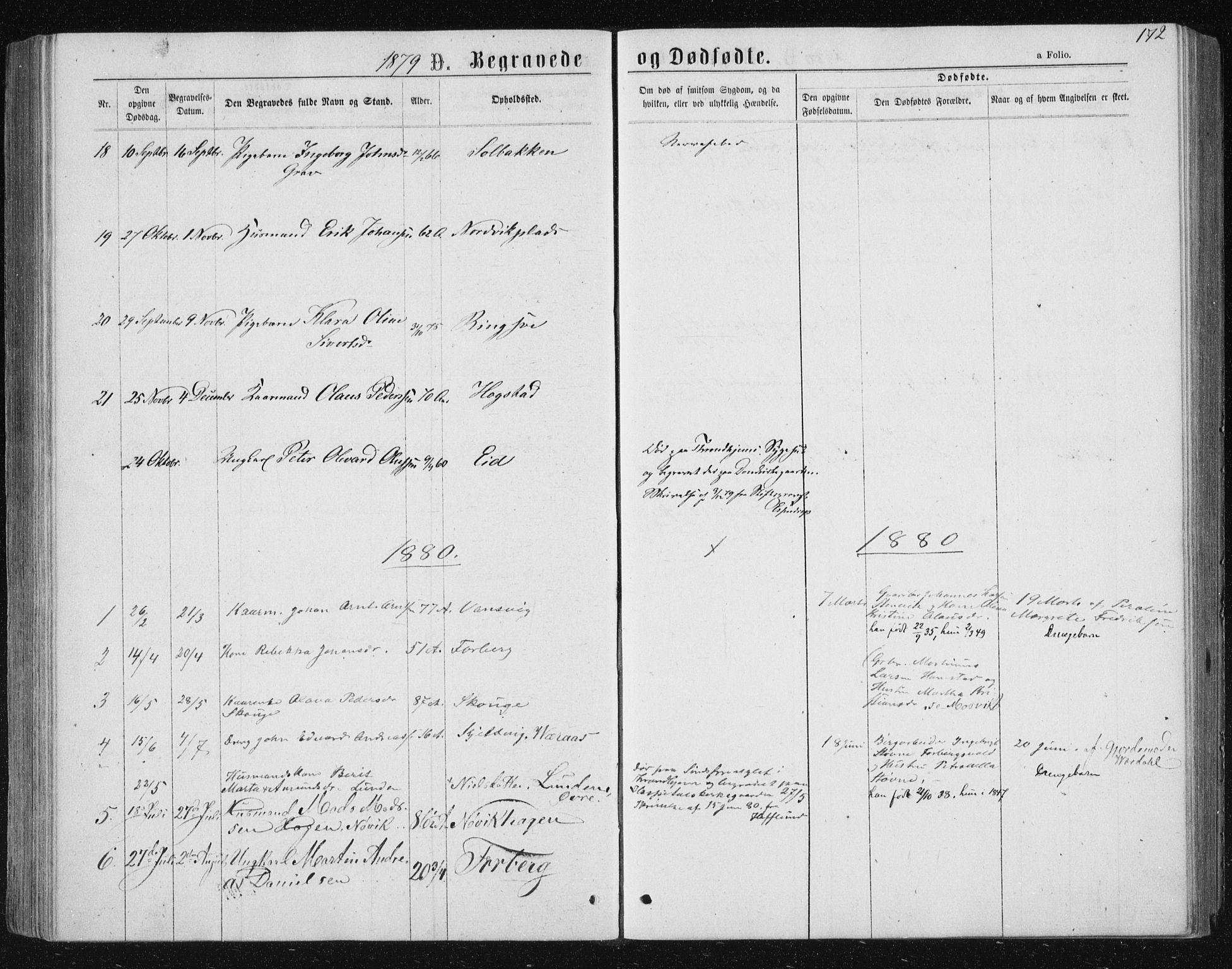 SAT, Ministerialprotokoller, klokkerbøker og fødselsregistre - Nord-Trøndelag, 722/L0219: Ministerialbok nr. 722A06, 1868-1880, s. 172