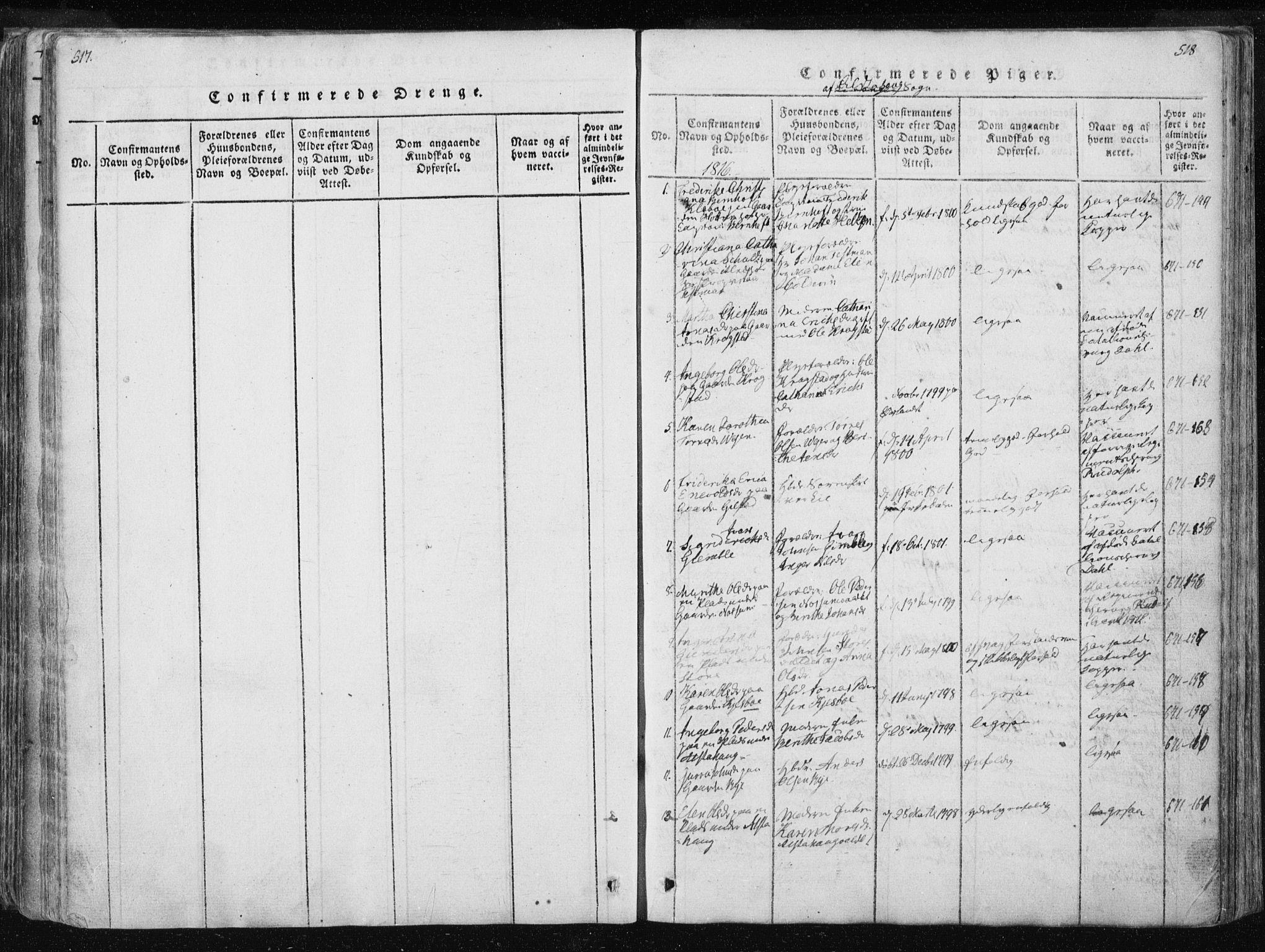 SAT, Ministerialprotokoller, klokkerbøker og fødselsregistre - Nord-Trøndelag, 717/L0148: Ministerialbok nr. 717A04 /1, 1816-1825, s. 517-518