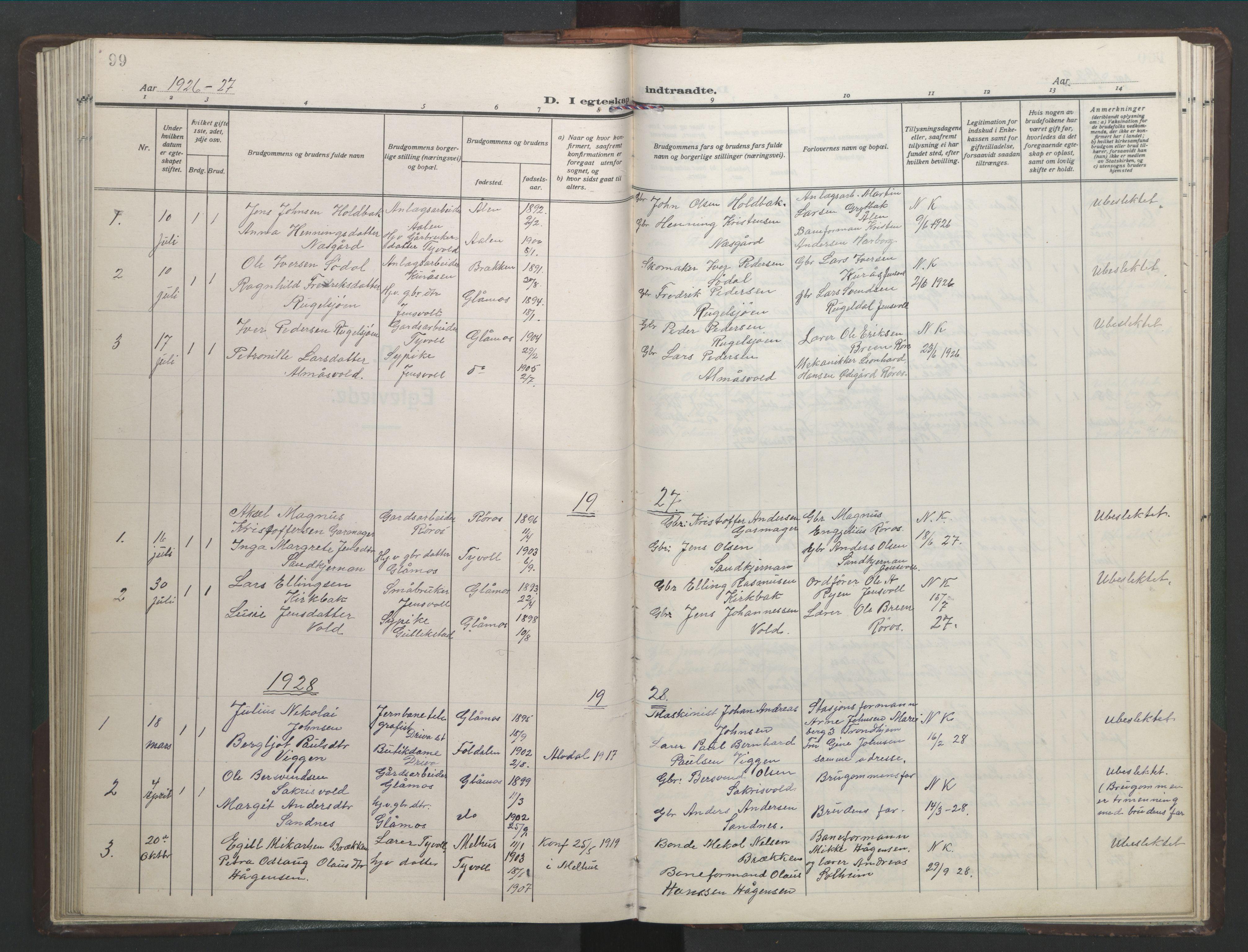 SAT, Ministerialprotokoller, klokkerbøker og fødselsregistre - Sør-Trøndelag, 682/L0947: Klokkerbok nr. 682C01, 1926-1968, s. 99