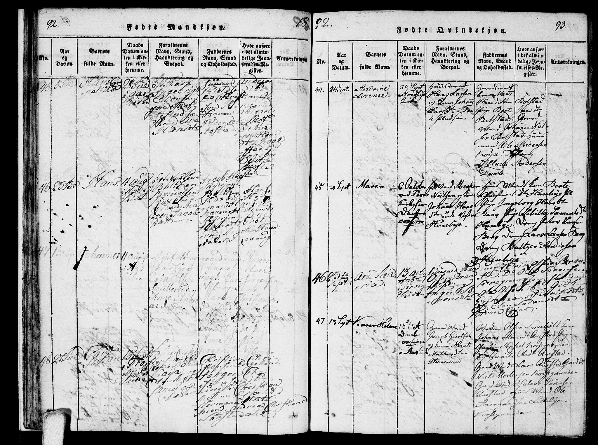 SAO, Ås prestekontor Kirkebøker, F/Fa/L0004: Ministerialbok nr. I 4, 1818-1826, s. 92-93