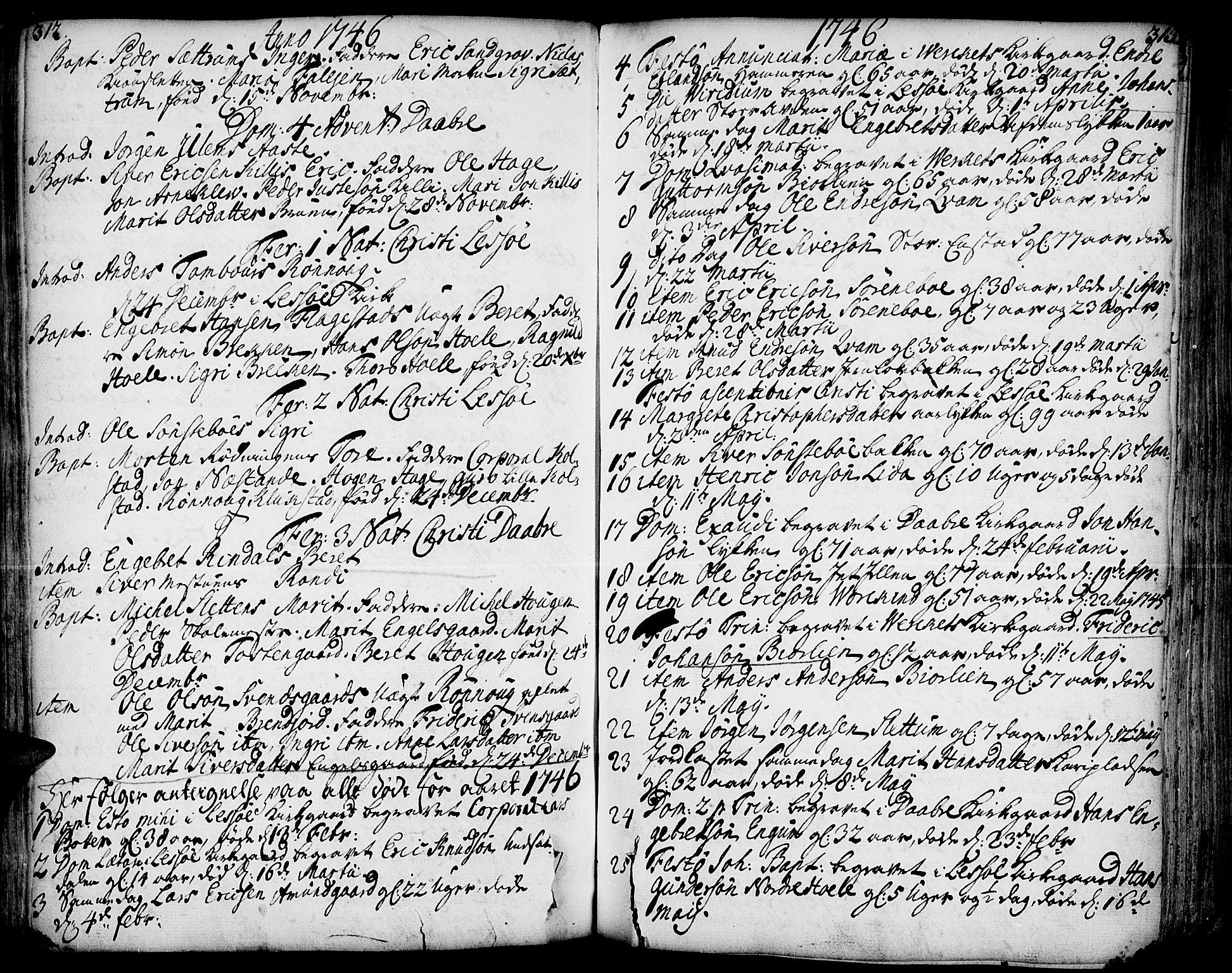 SAH, Lesja prestekontor, Ministerialbok nr. 2, 1732-1776, s. 312-313
