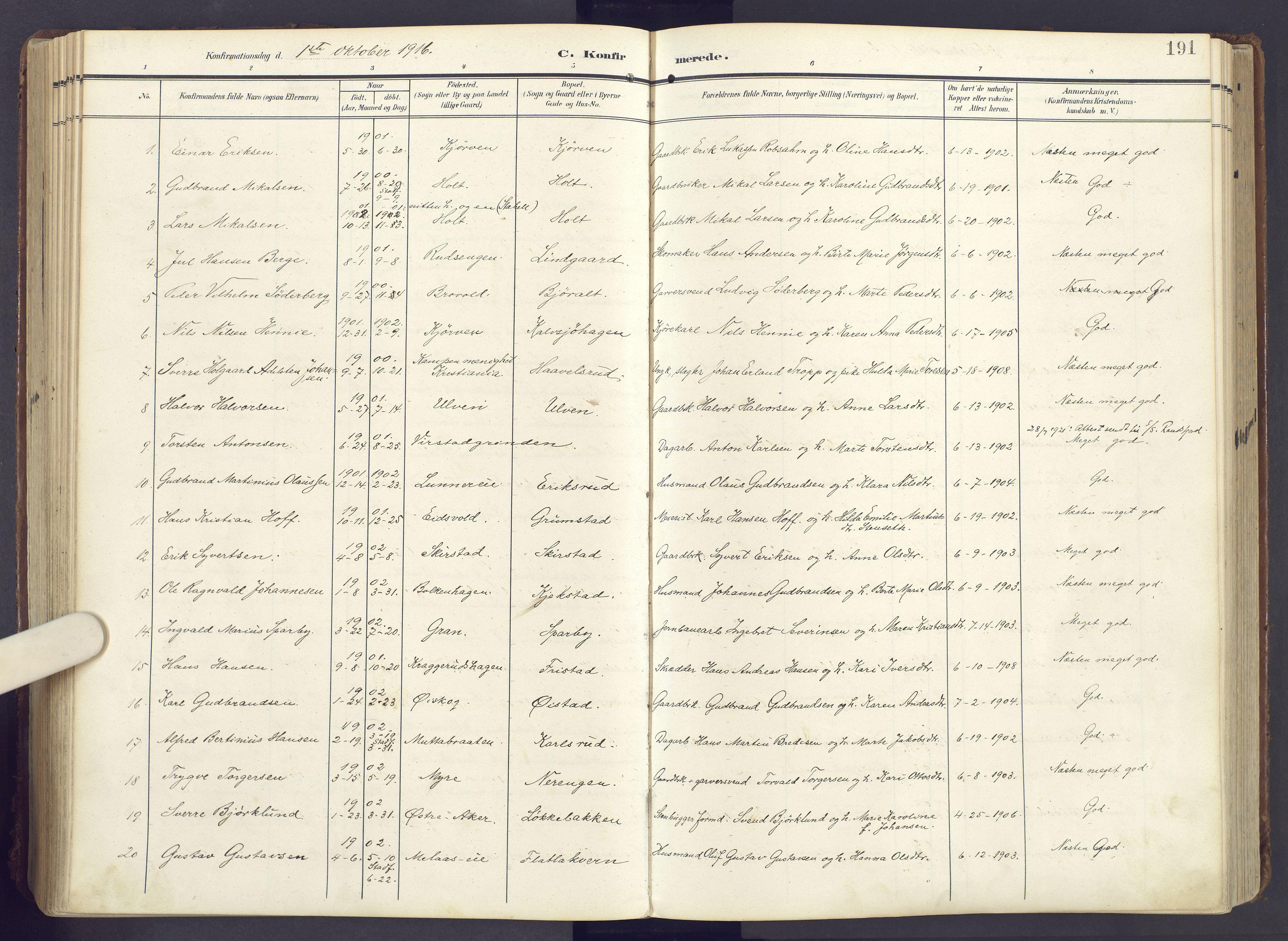 SAH, Lunner prestekontor, H/Ha/Haa/L0001: Ministerialbok nr. 1, 1907-1922, s. 191