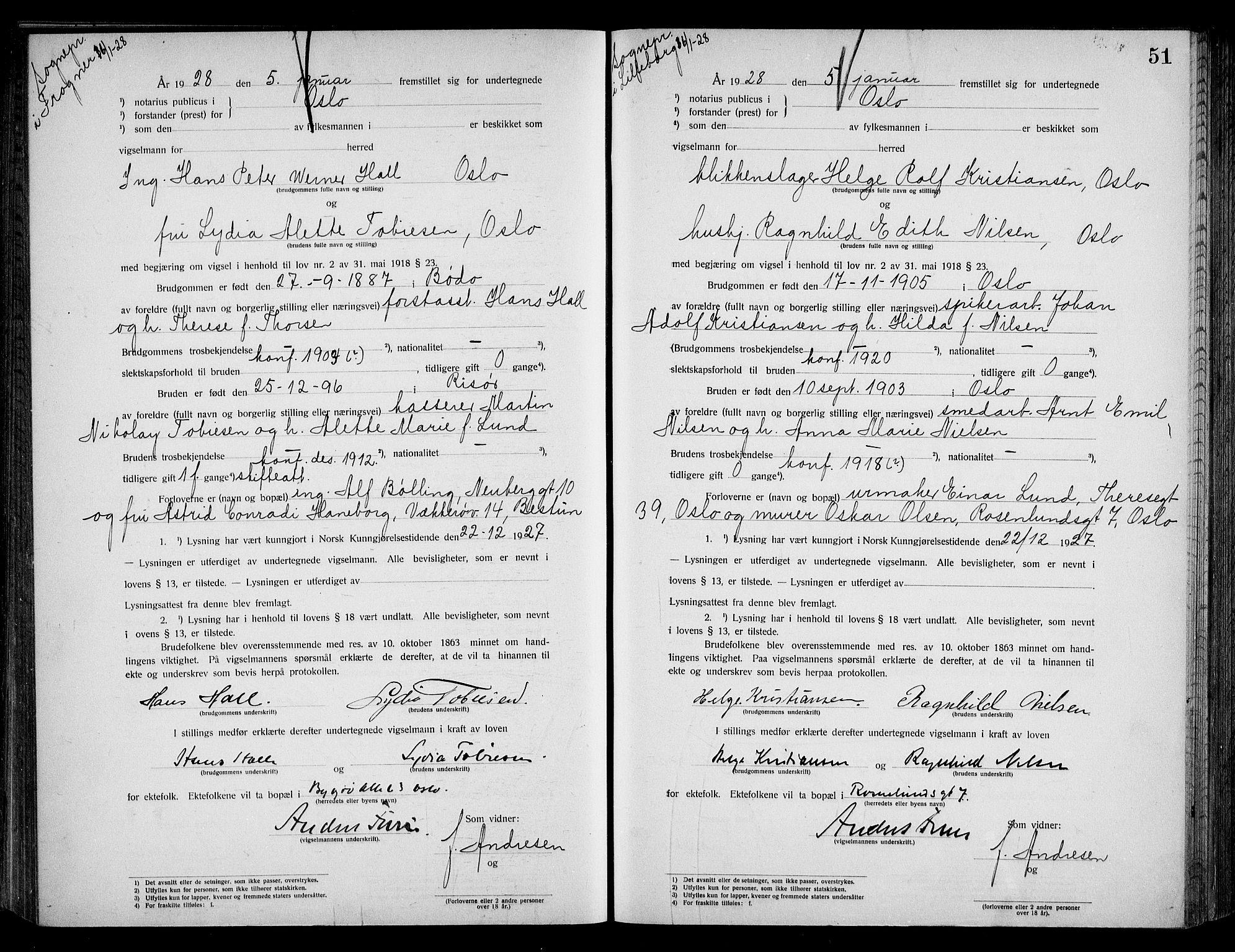 SAO, Oslo byfogd avd. I, L/Lb/Lbb/L0018: Notarialprotokoll, rekke II: Vigsler, 1926-1928, s. 50b-51a