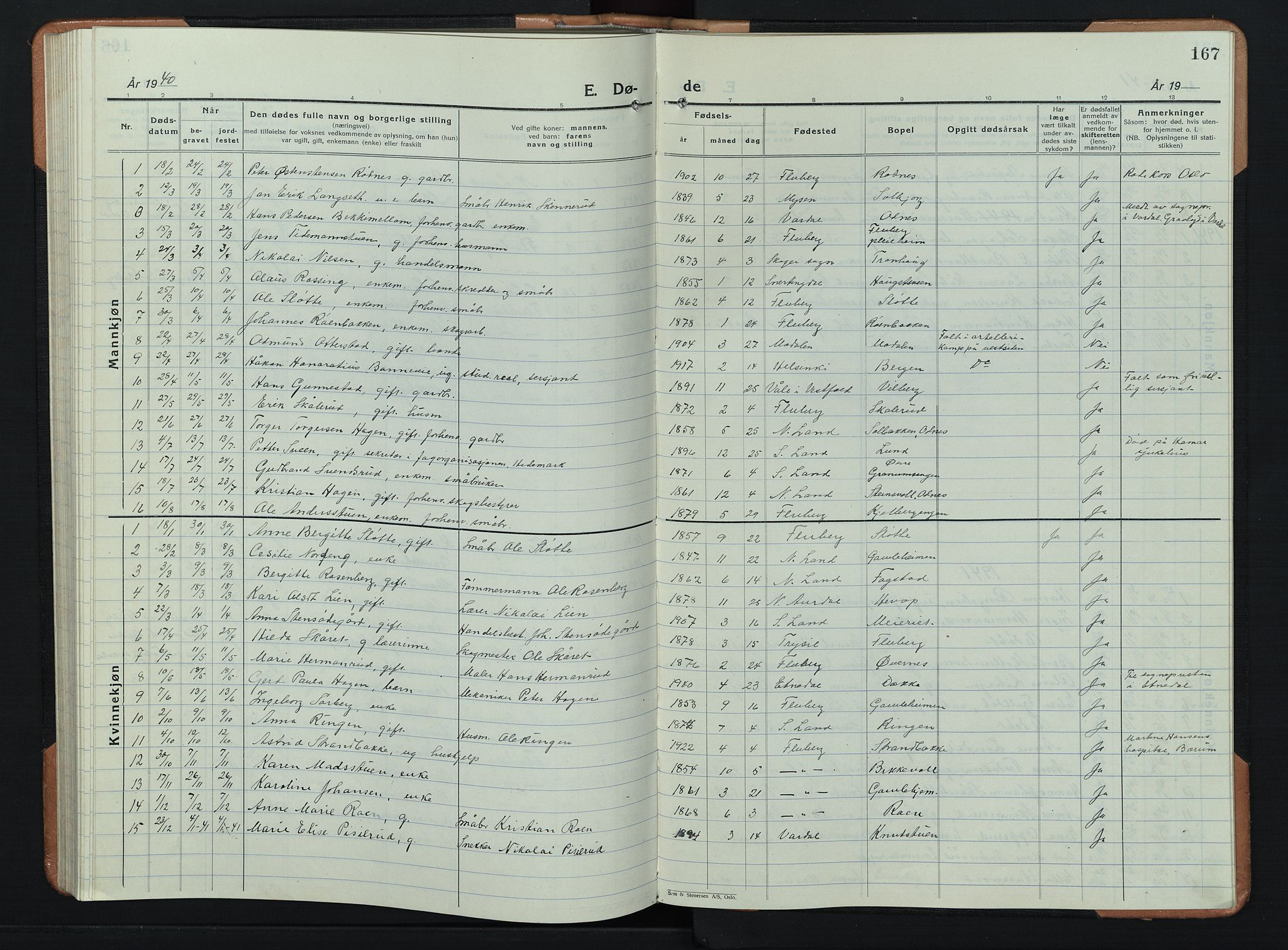 SAH, Søndre Land prestekontor, L/L0008: Klokkerbok nr. 8, 1926-1950, s. 167