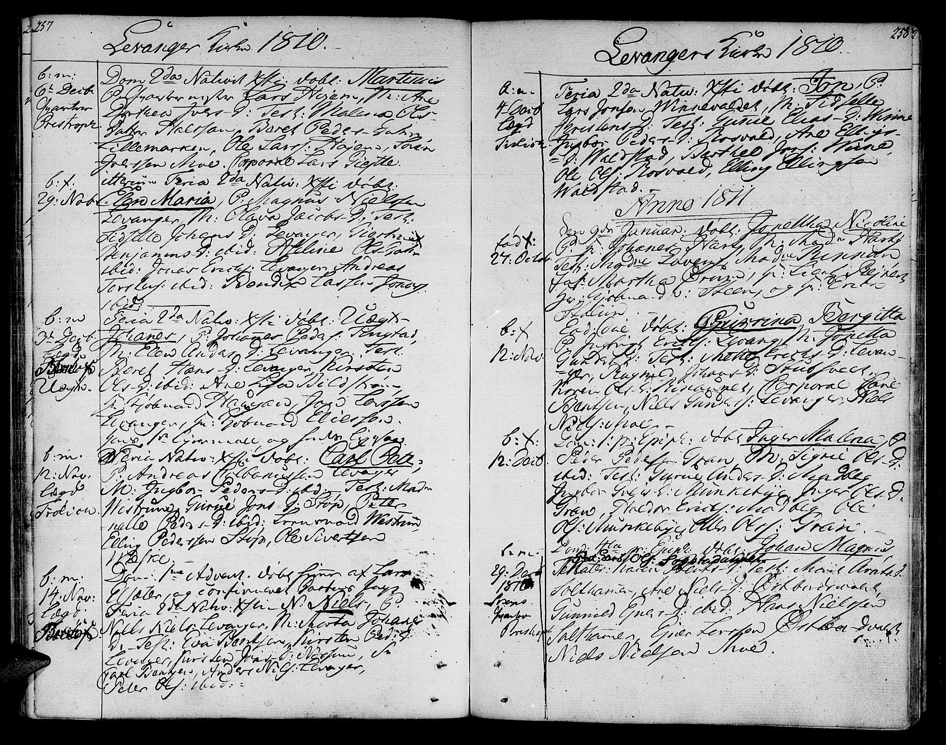 SAT, Ministerialprotokoller, klokkerbøker og fødselsregistre - Nord-Trøndelag, 717/L0145: Ministerialbok nr. 717A03 /3, 1810-1815, s. 257-258