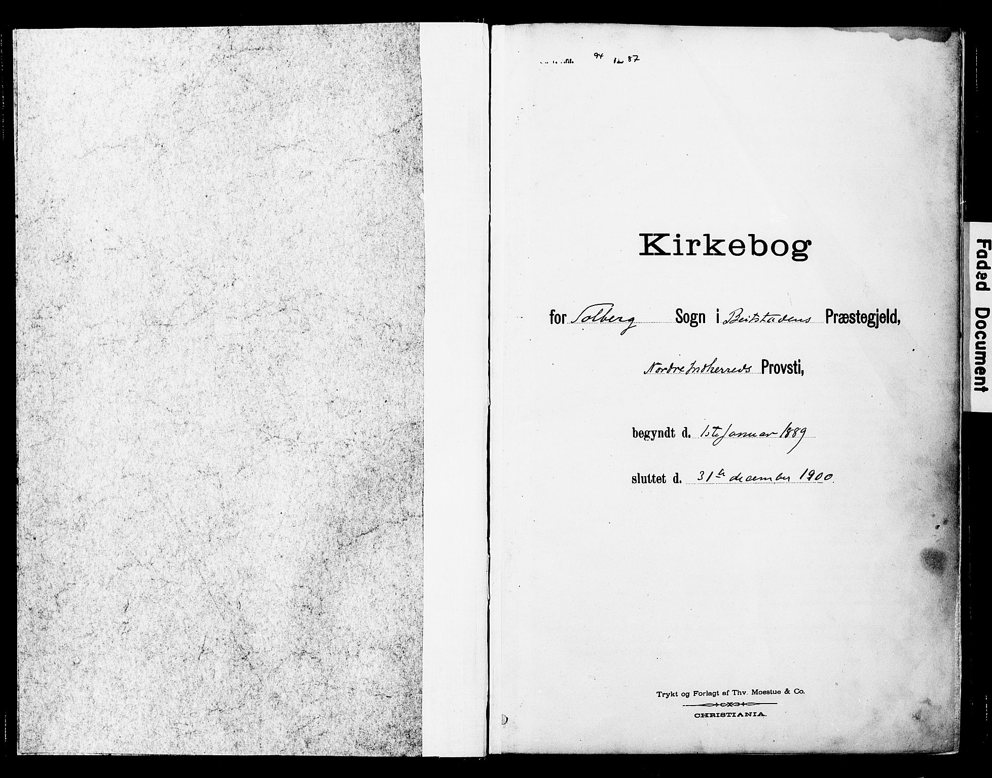 SAT, Ministerialprotokoller, klokkerbøker og fødselsregistre - Nord-Trøndelag, 741/L0396: Ministerialbok nr. 741A10, 1889-1901