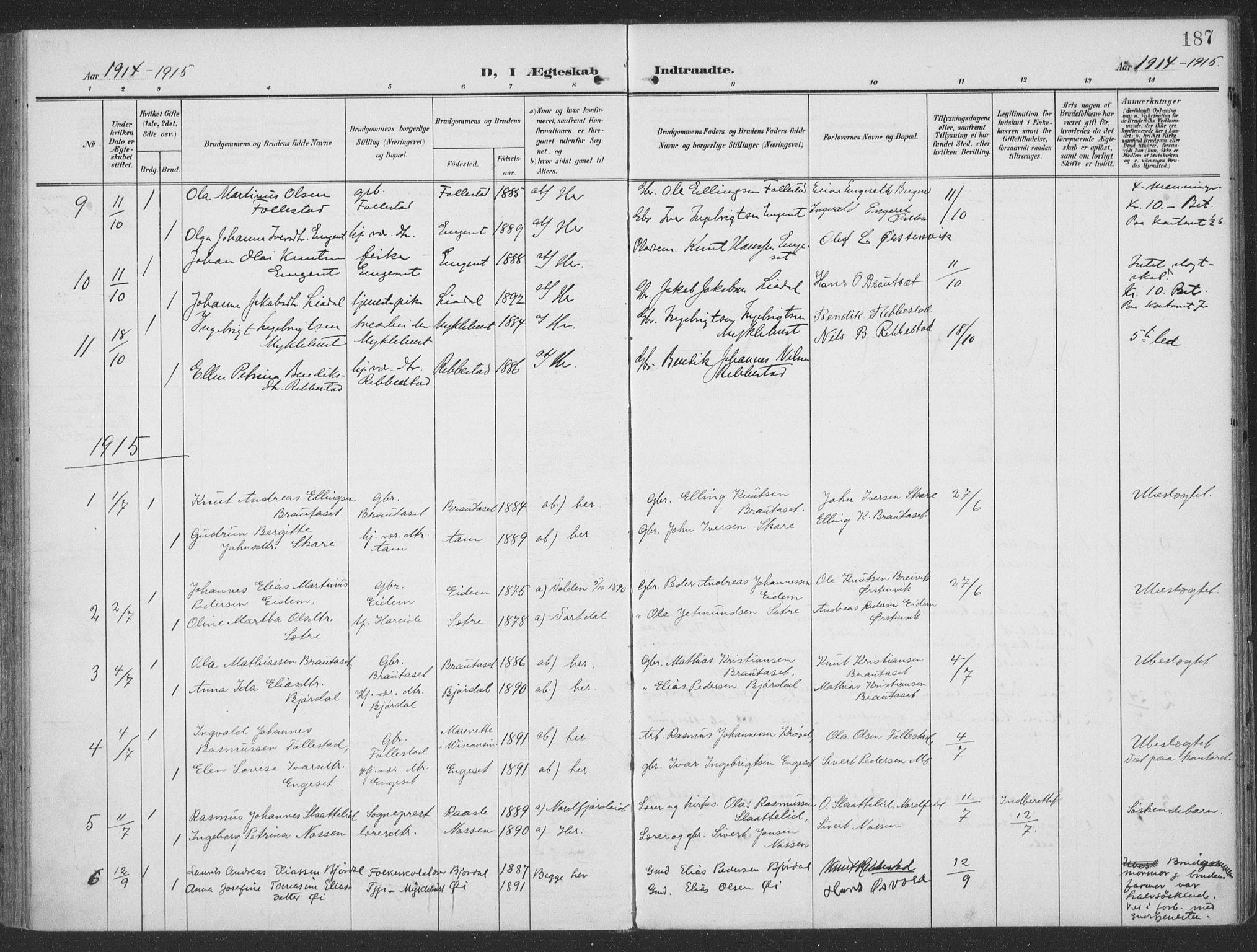 SAT, Ministerialprotokoller, klokkerbøker og fødselsregistre - Møre og Romsdal, 513/L0178: Ministerialbok nr. 513A05, 1906-1919, s. 187